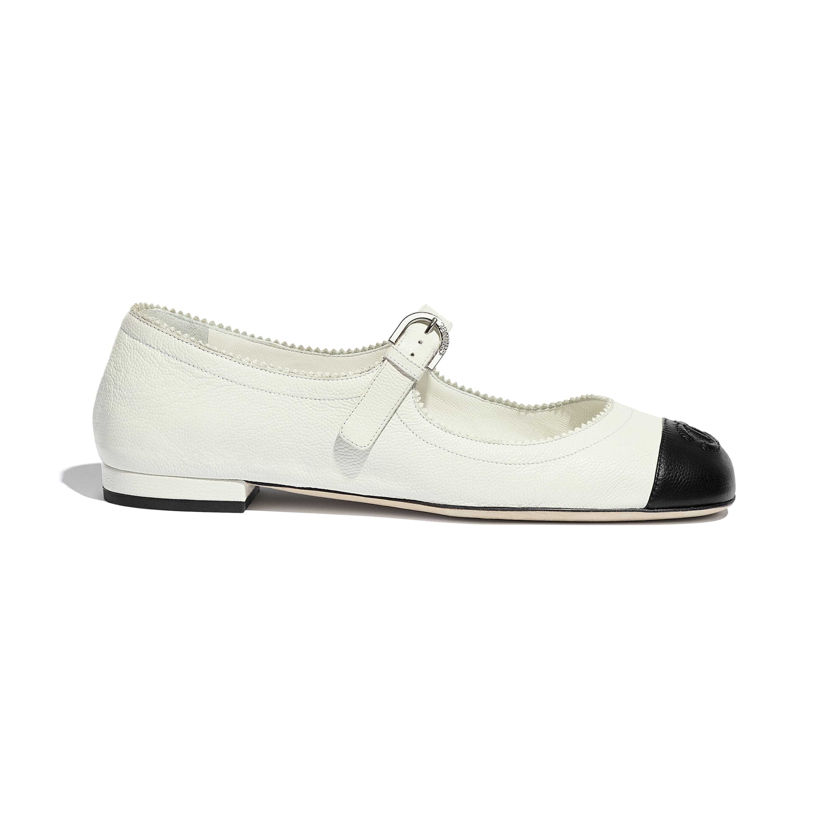 Mary Janes  - White & Black - Calfskin - CHANEL - Default view - see standard sized version