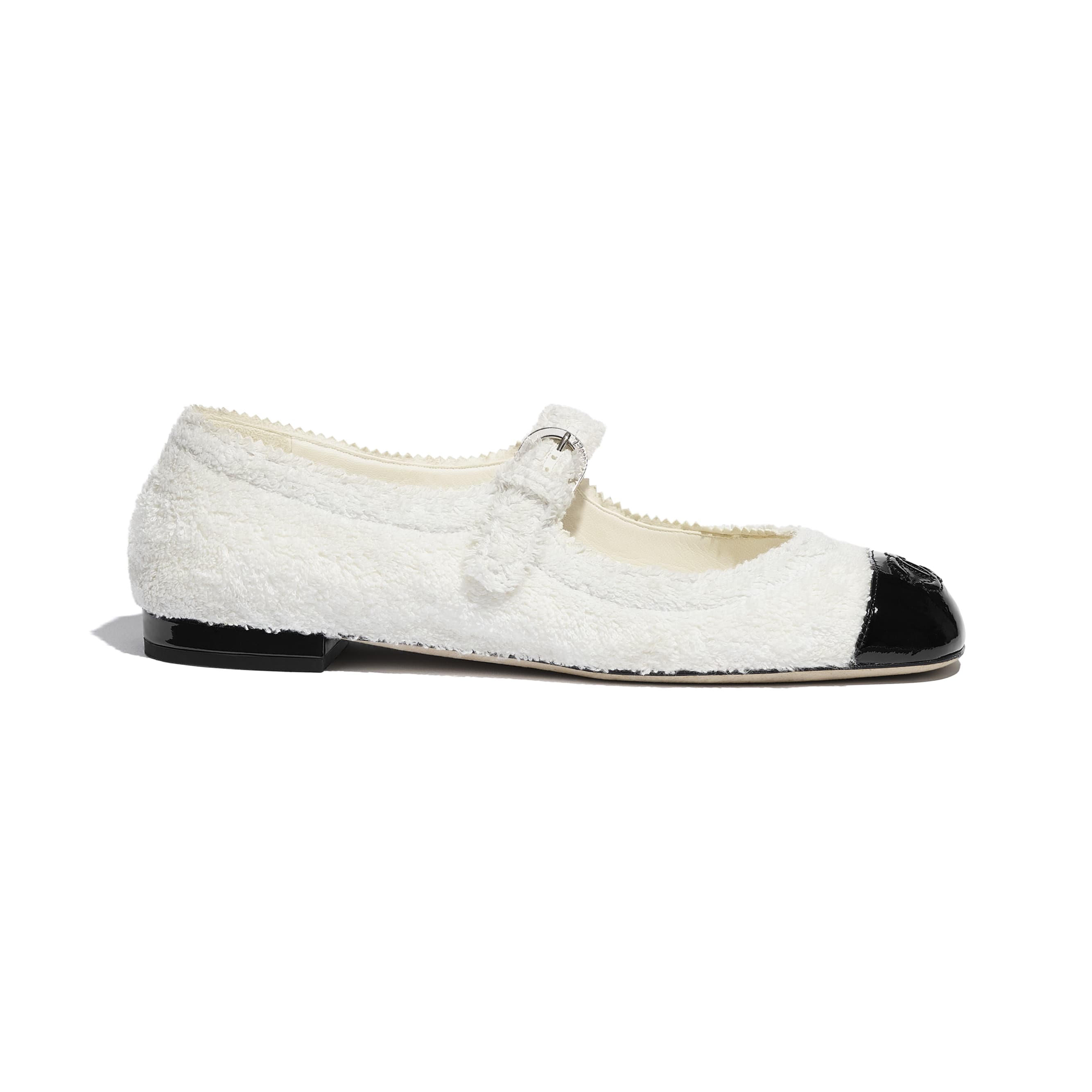 Mary Janes  - White & Black - Fabric & Patent Lambskin - CHANEL - Default view - see standard sized version