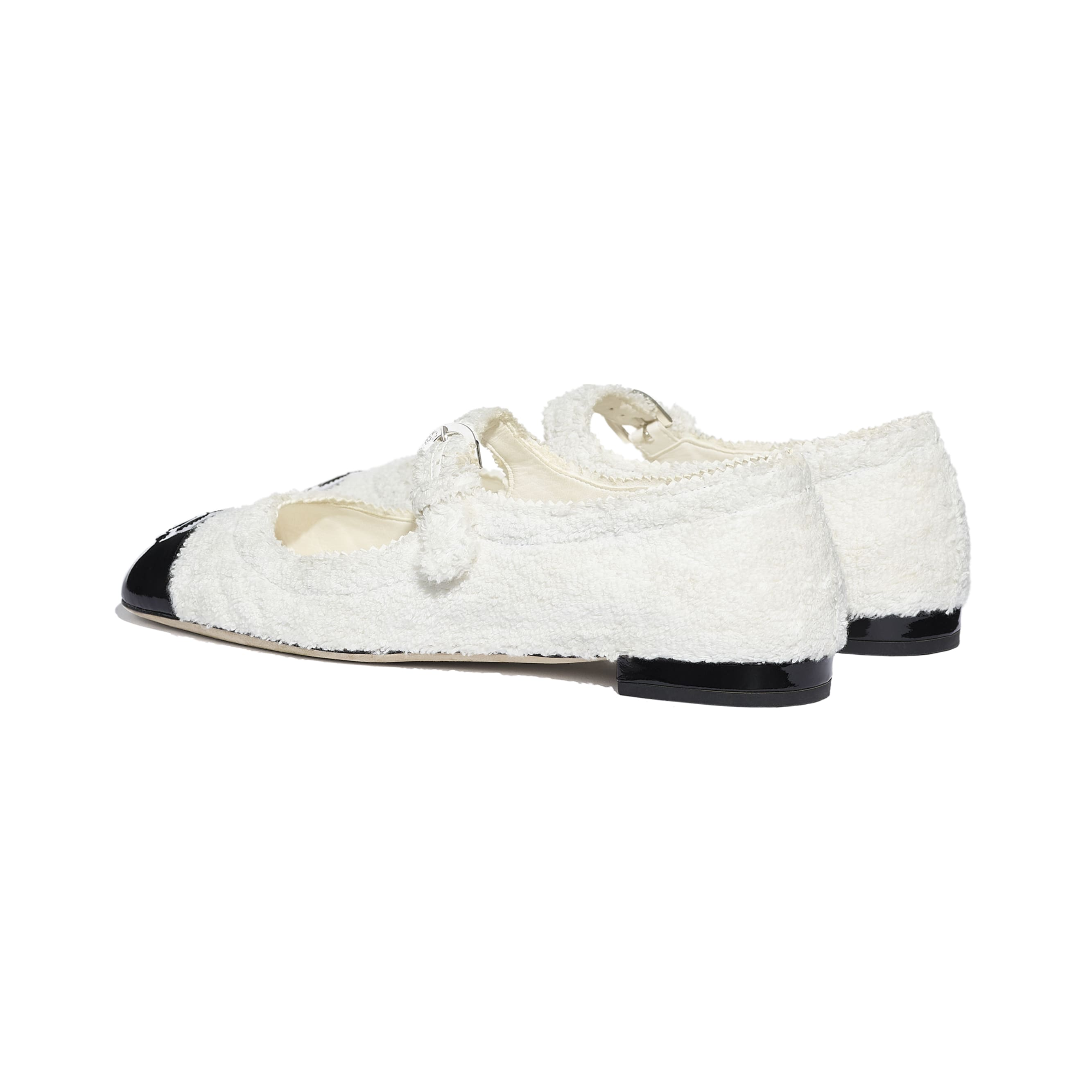 Mary Janes  - White & Black - Fabric & Patent Lambskin - CHANEL - Other view - see standard sized version