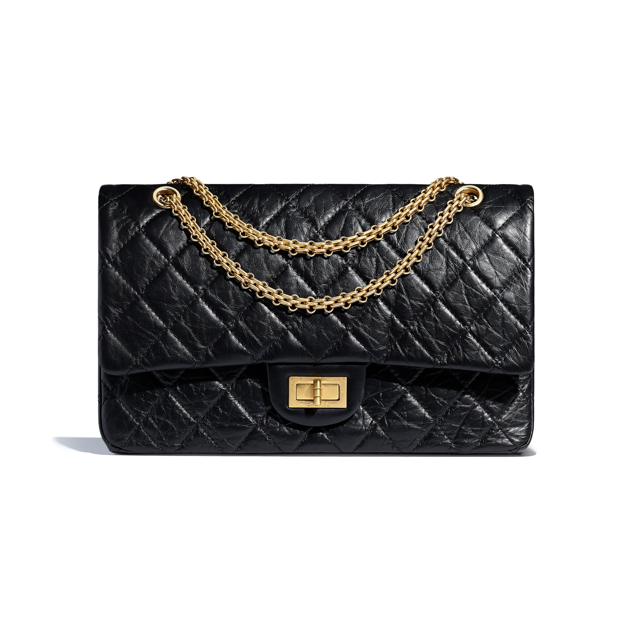 Maxi 2.55 Handbag - Black - Aged Calfskin & Gold-Tone Metal - CHANEL - Default view - see standard sized version