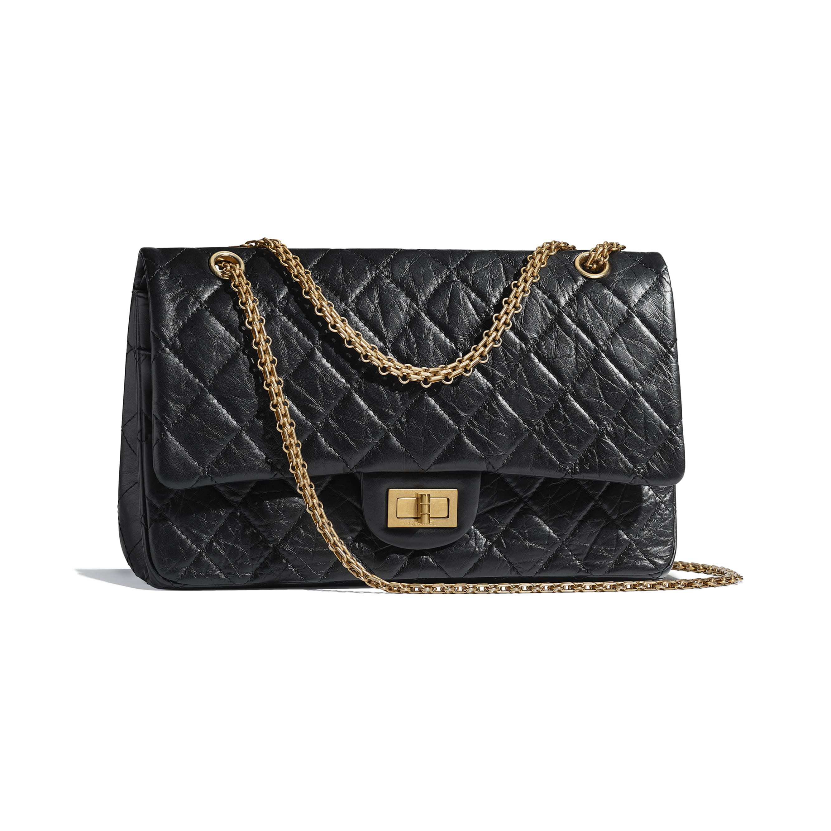 Maxi 2.55 Handbag - Black - Aged Calfskin & Gold-Tone Metal - CHANEL - Other view - see standard sized version