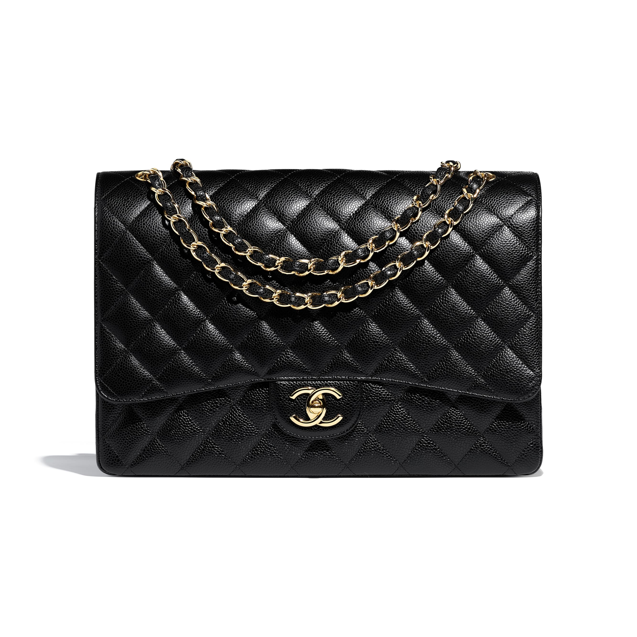 Maxi Classic Handbag - Black - Grained Calfskin & Gold-Tone Metal - Default view - see standard sized version