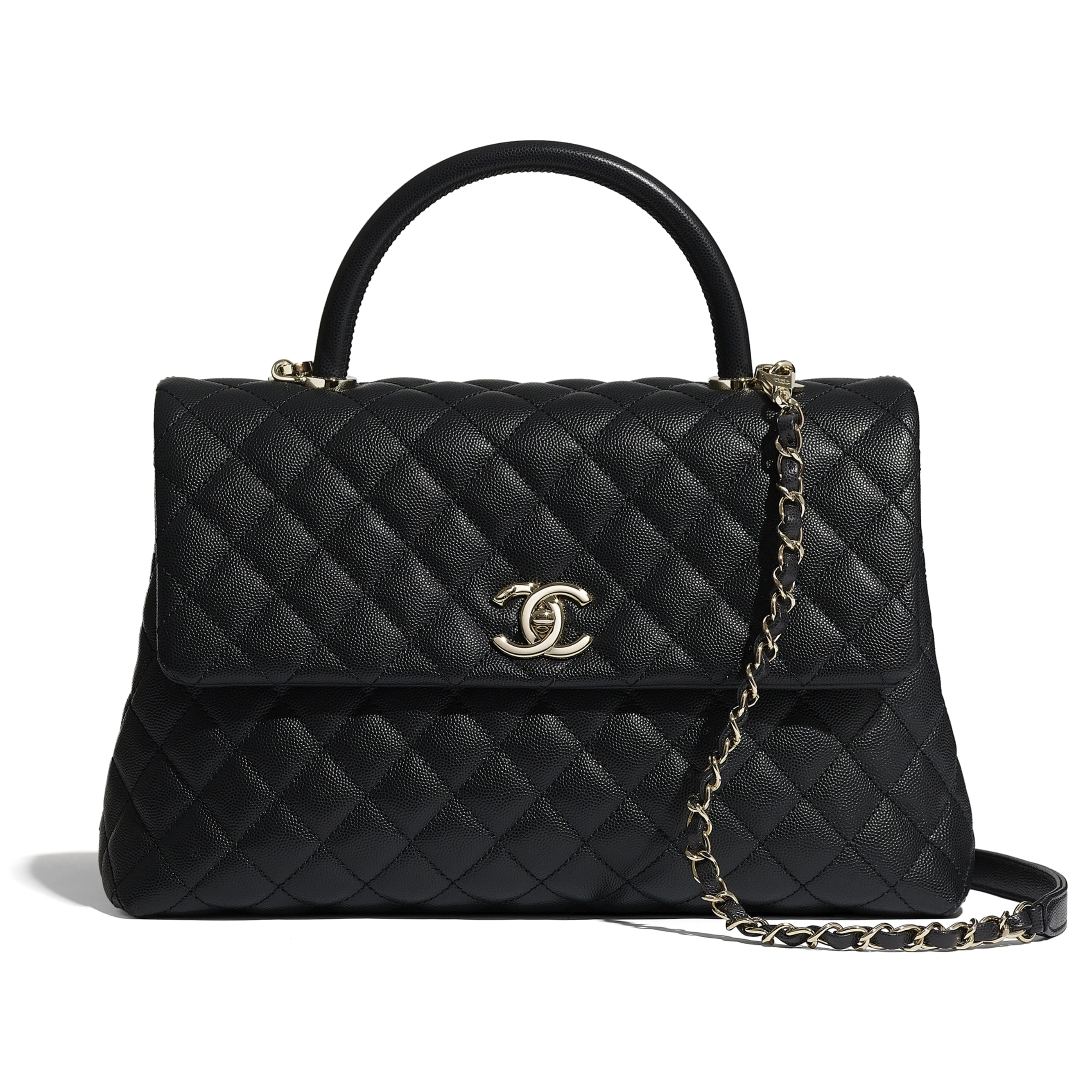 Maxi Flap Bag With Top Handle - Black - Grained Calfskin & Gold-Tone Metal - CHANEL - Default view - see standard sized version