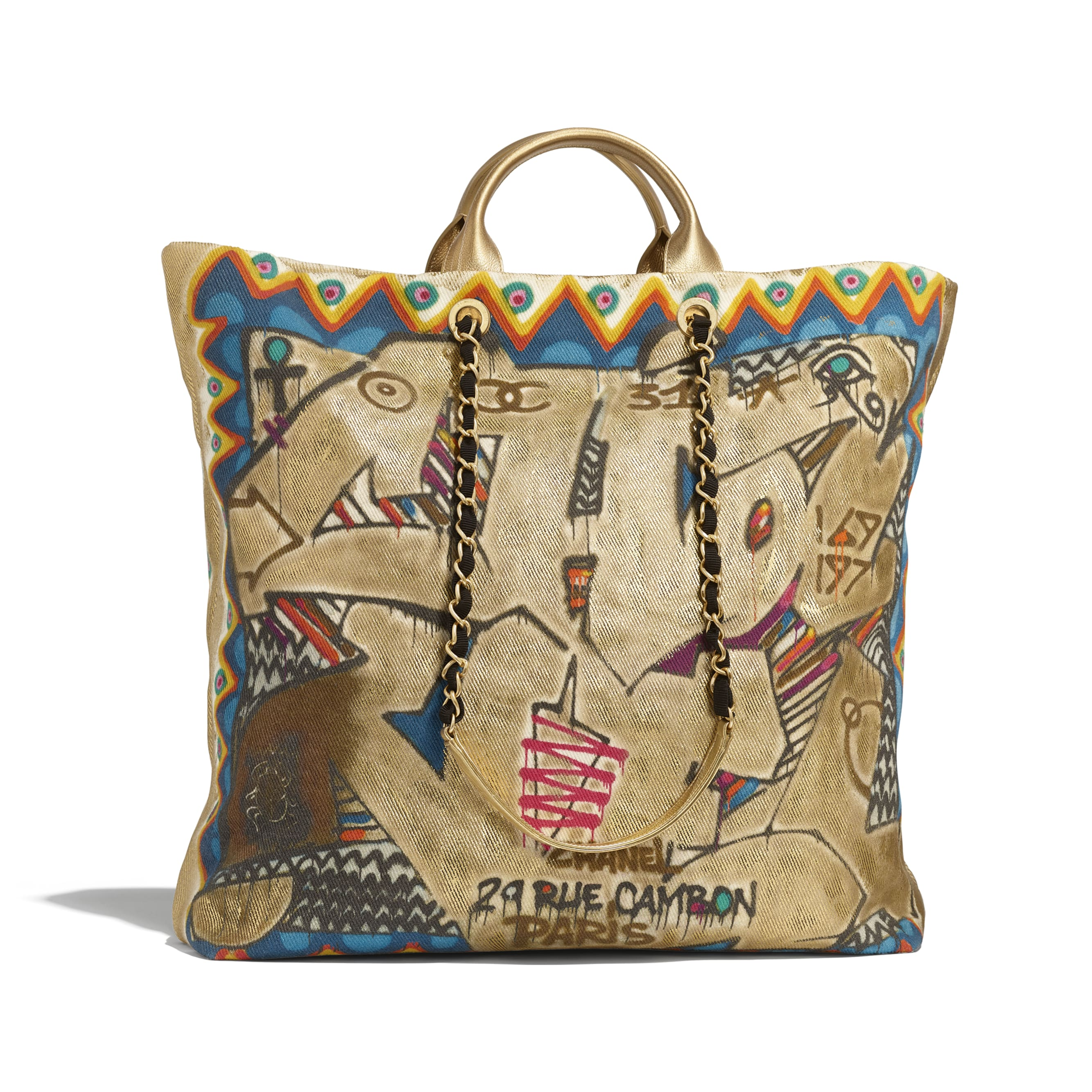 Maxi Shopping Bag - Multicolor - Calfskin, Cotton & Gold-Tone Metal - Alternative view - see standard sized version