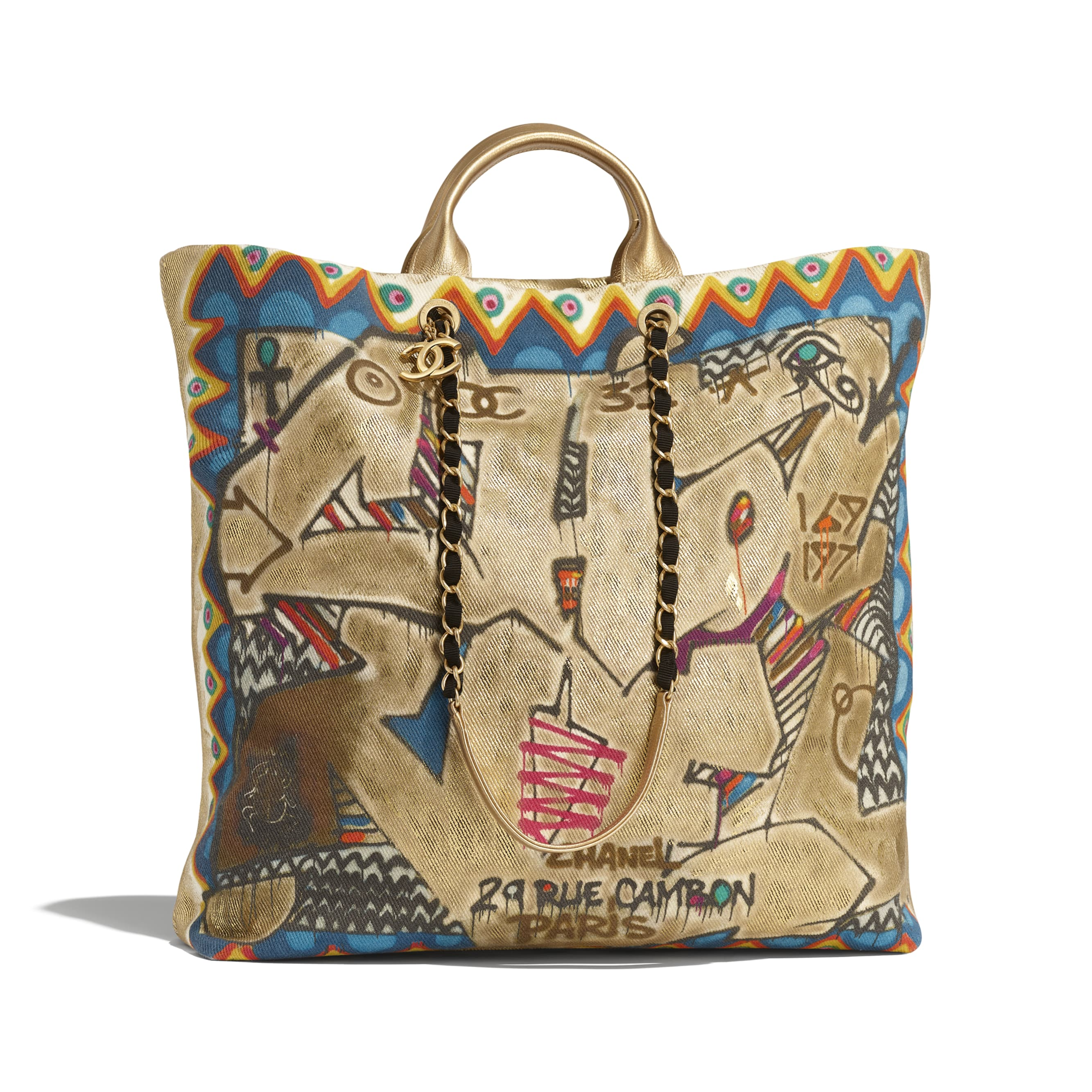Maxi Shopping Bag - Multicolor - Calfskin, Cotton & Gold-Tone Metal - Default view - see standard sized version