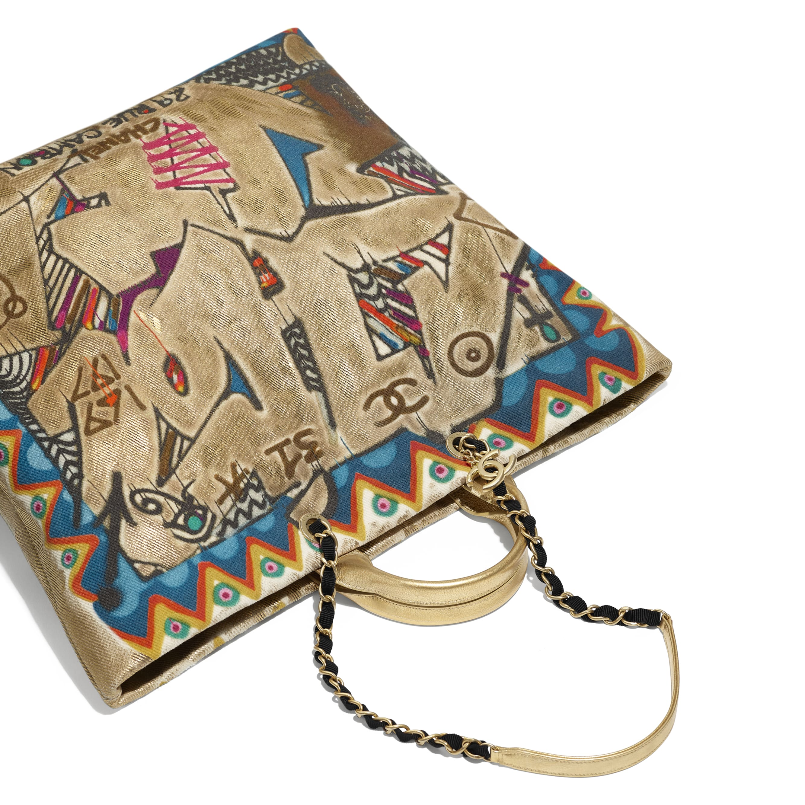 Maxi Shopping Bag - Multicolor - Calfskin, Cotton & Gold-Tone Metal - Other view - see standard sized version