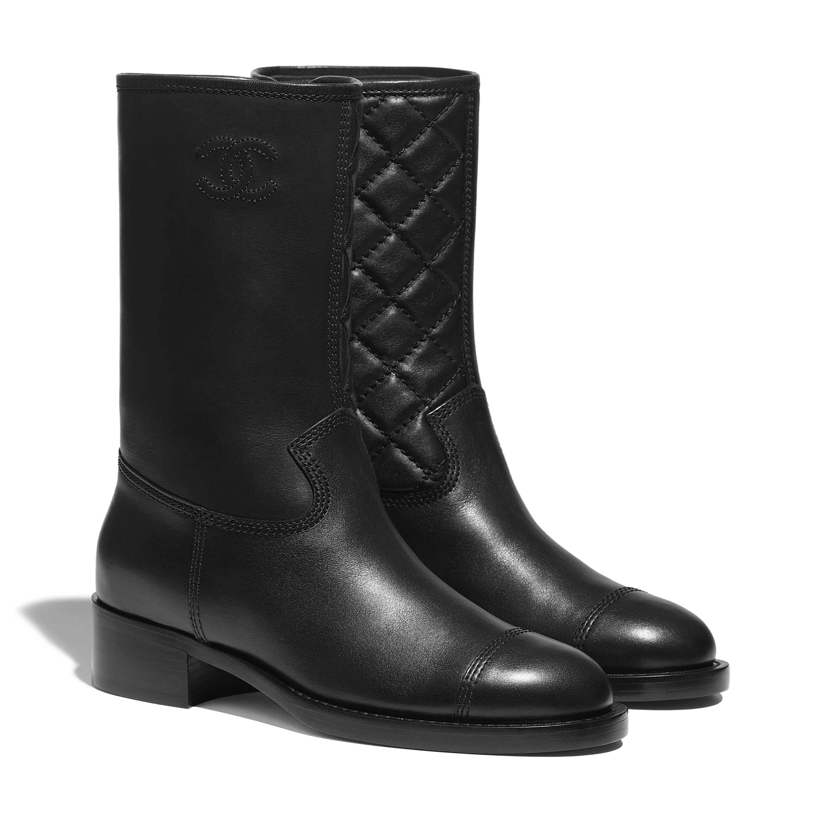 Mid-Calf Boots - Black - Calfskin - CHANEL - Alternative view - see standard sized version