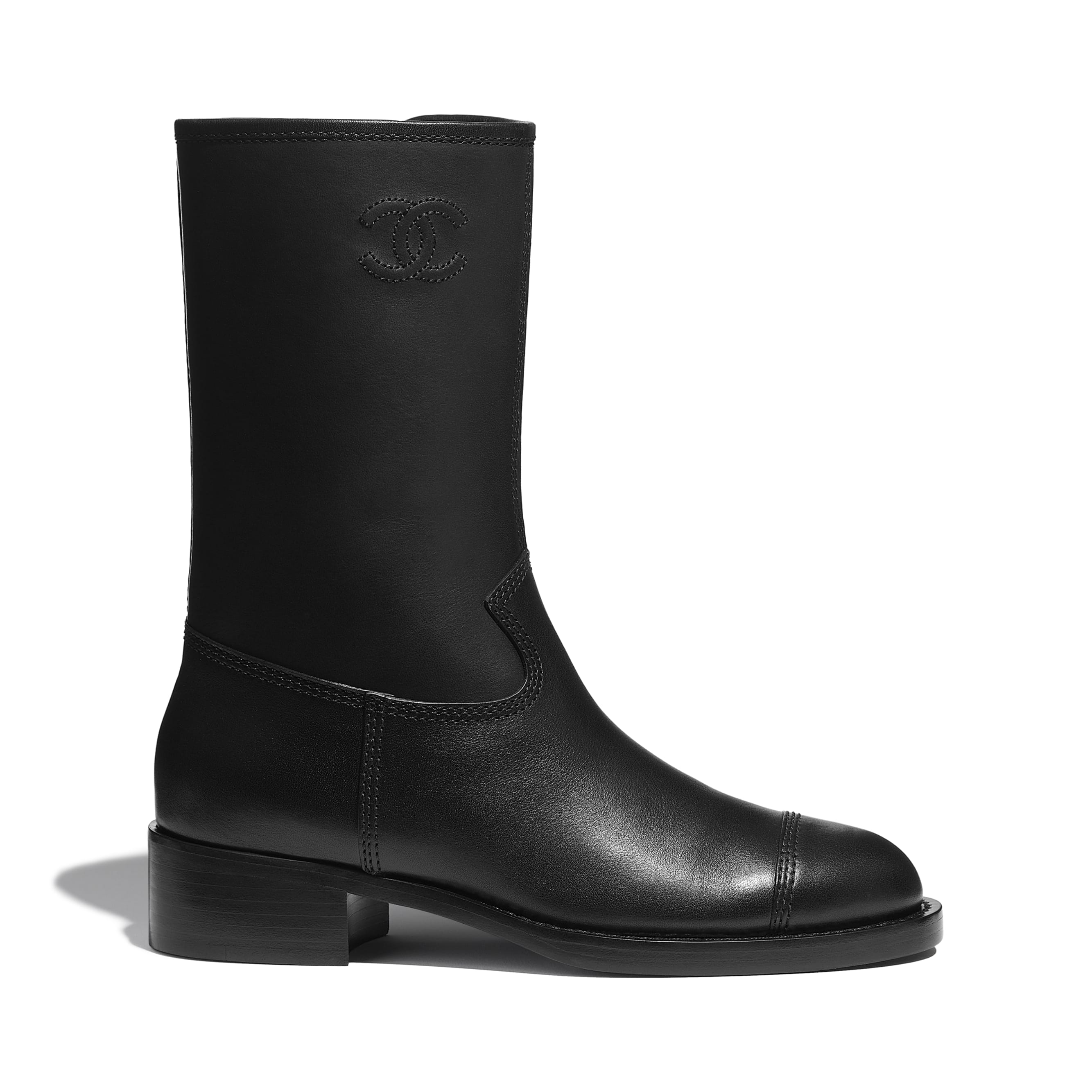 Mid-Calf Boots - Black - Calfskin - CHANEL - Default view - see standard sized version