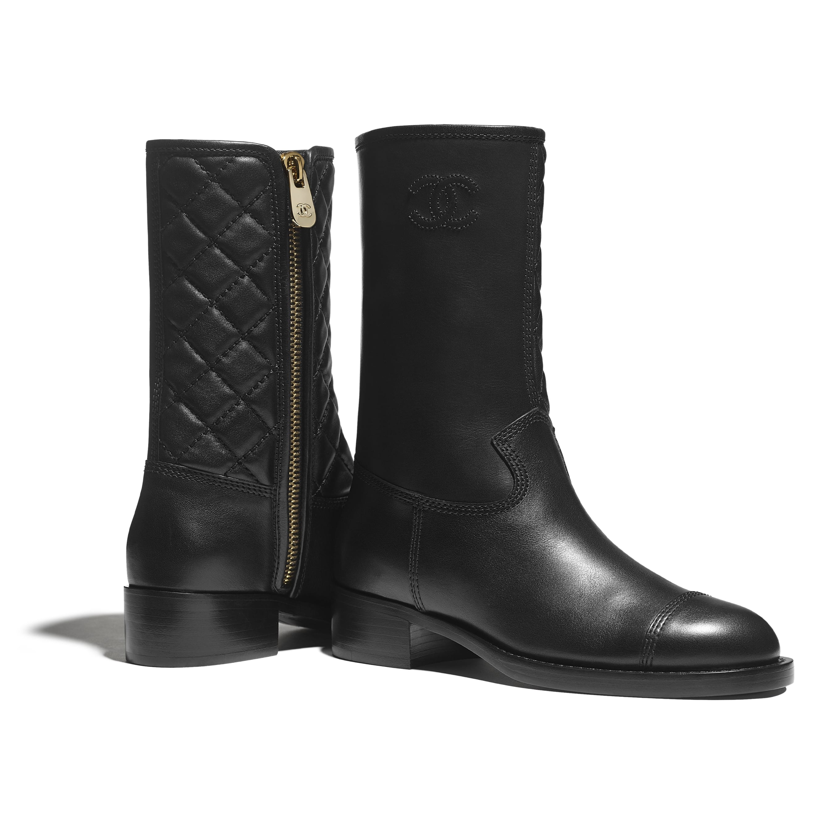 Mid-Calf Boots - Black - Calfskin - CHANEL - Extra view - see standard sized version
