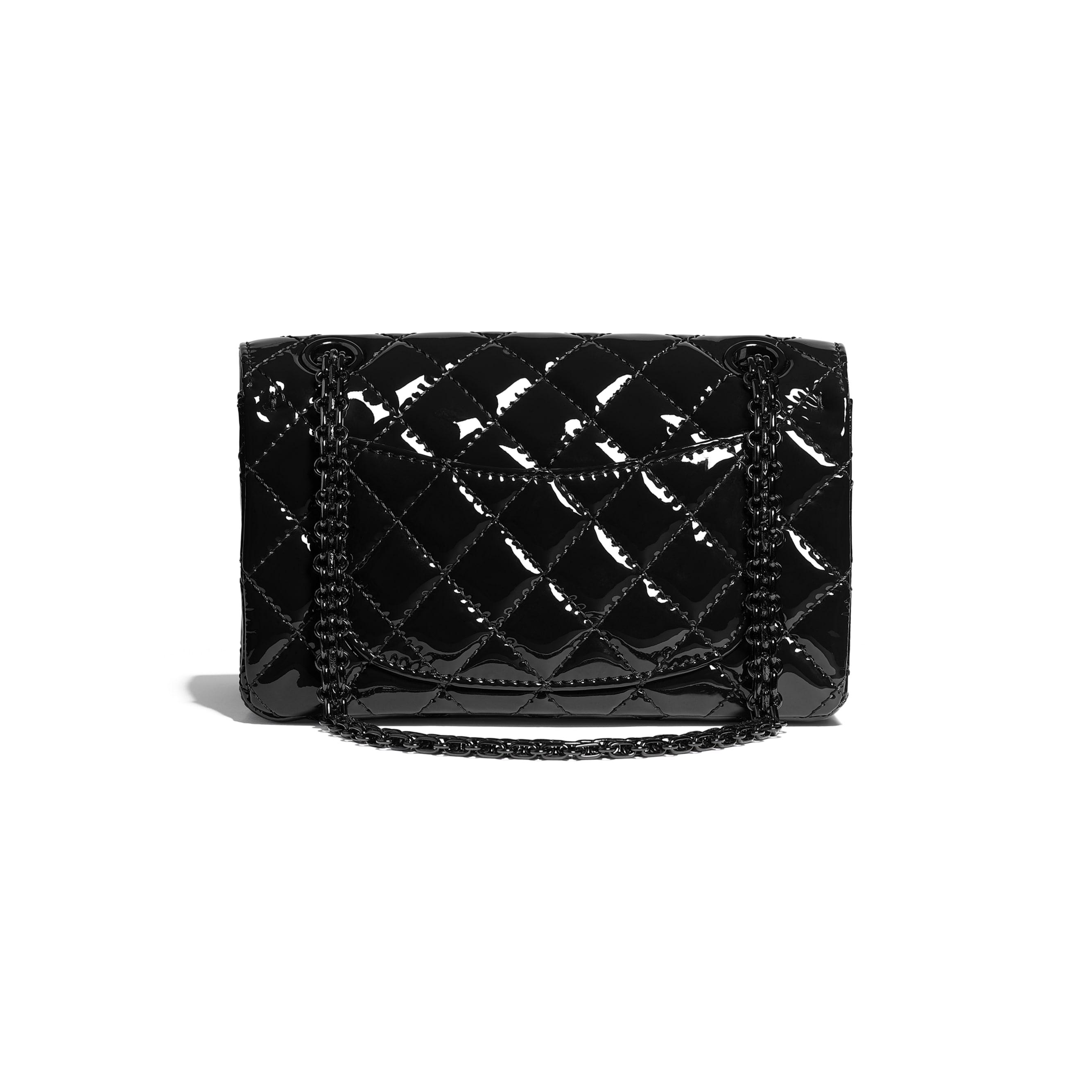 Mini 2.55 Handbag - Black - Patent Calfskin & Black Metal - CHANEL - Alternative view - see standard sized version