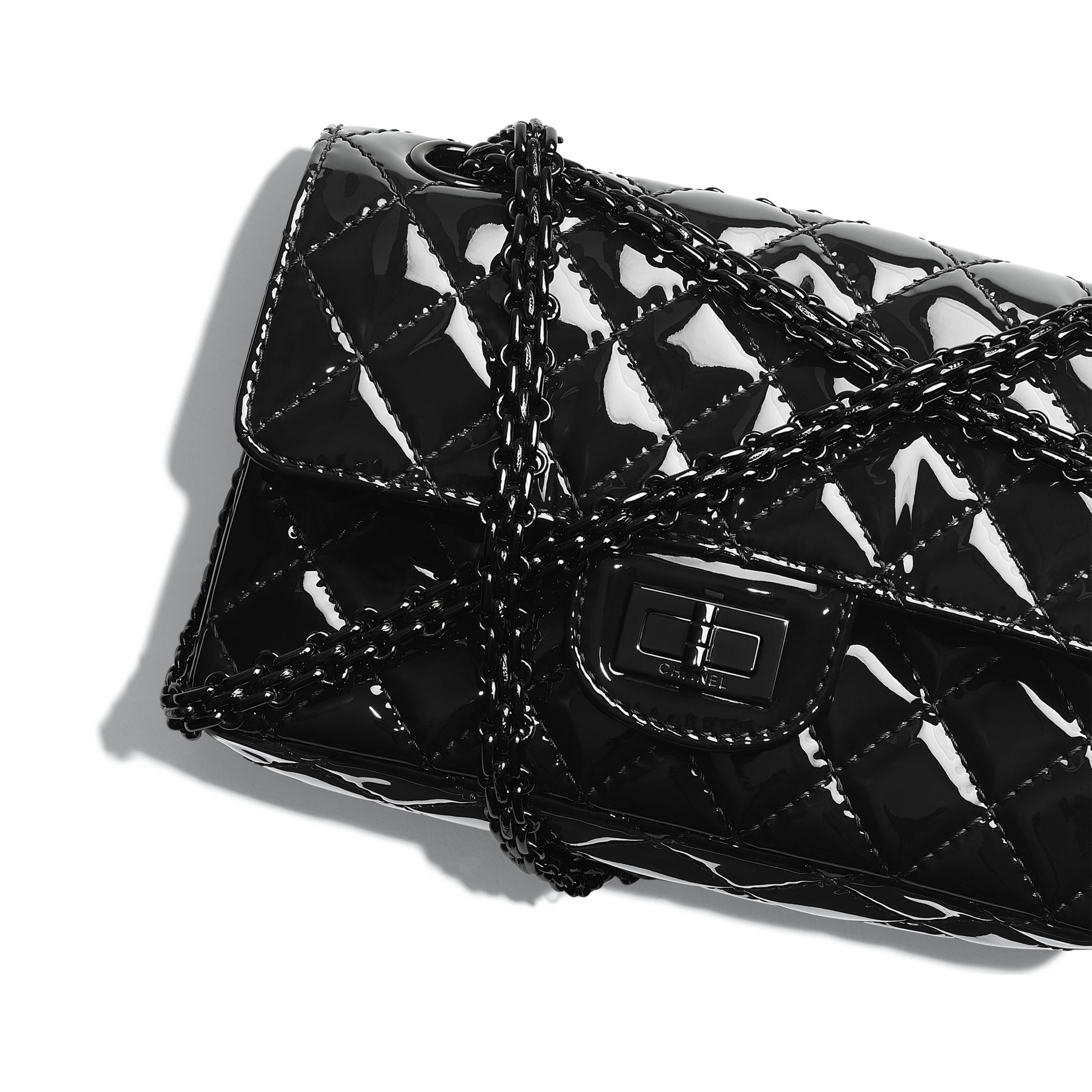 Mini 2.55 Handbag - Black - Patent Calfskin & Black Metal - CHANEL - Extra view - see standard sized version