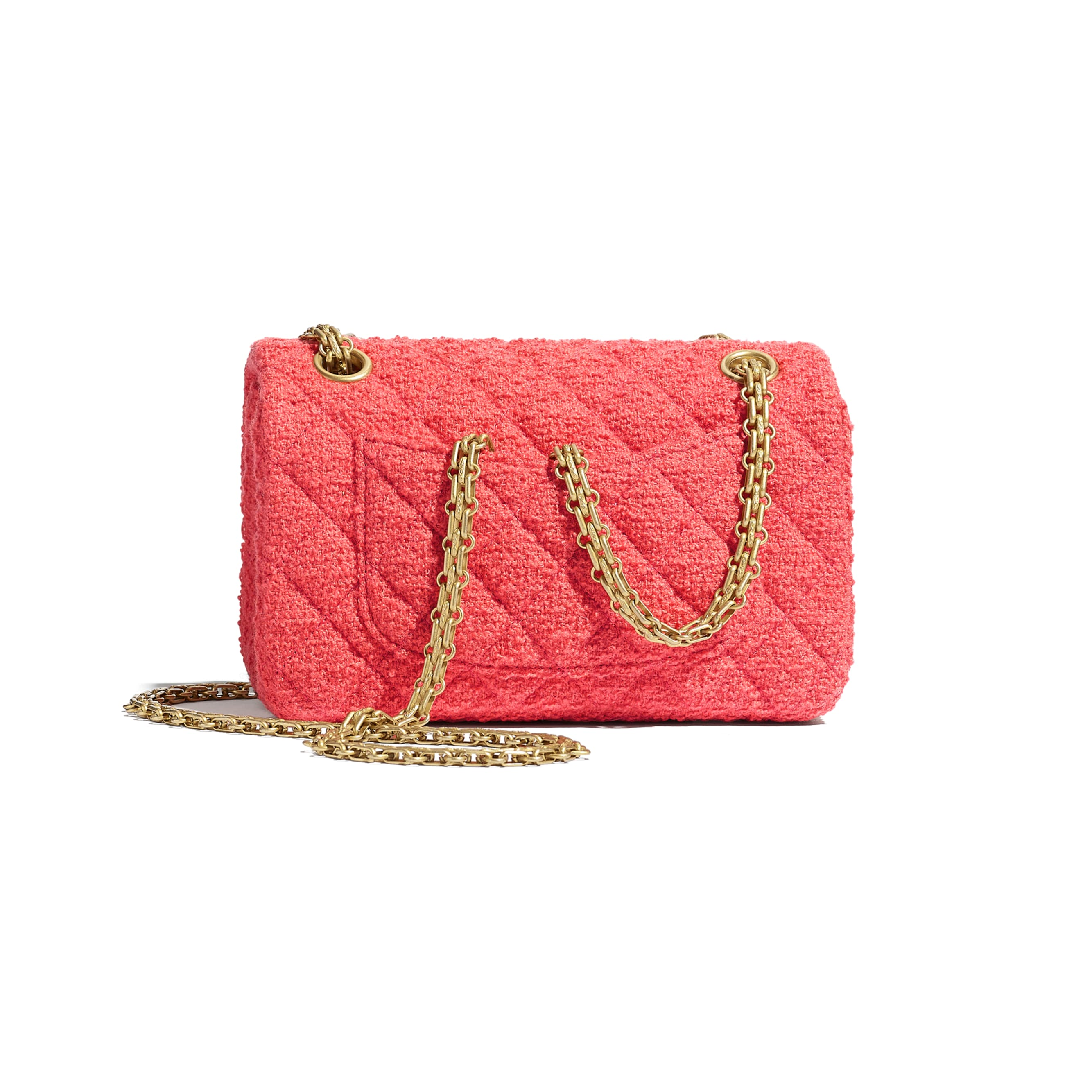 Mini 2.55 Handbag - Coral - Wool Tweed & Gold-Tone Metal - CHANEL - Alternative view - see standard sized version