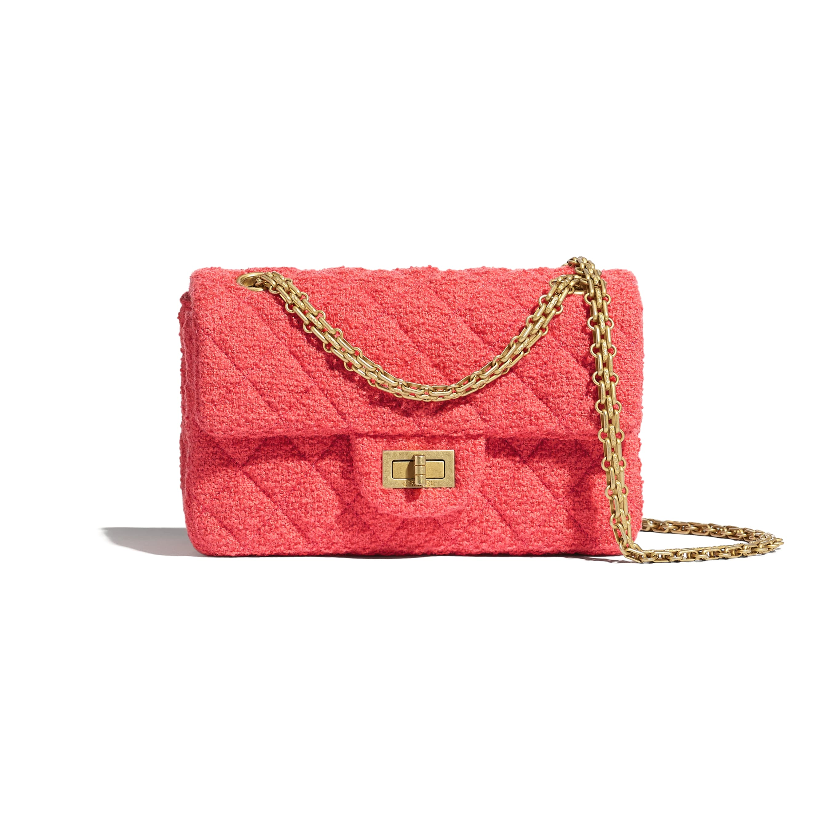 Mini 2.55 Handbag - Coral - Wool Tweed & Gold-Tone Metal - CHANEL - Default view - see standard sized version