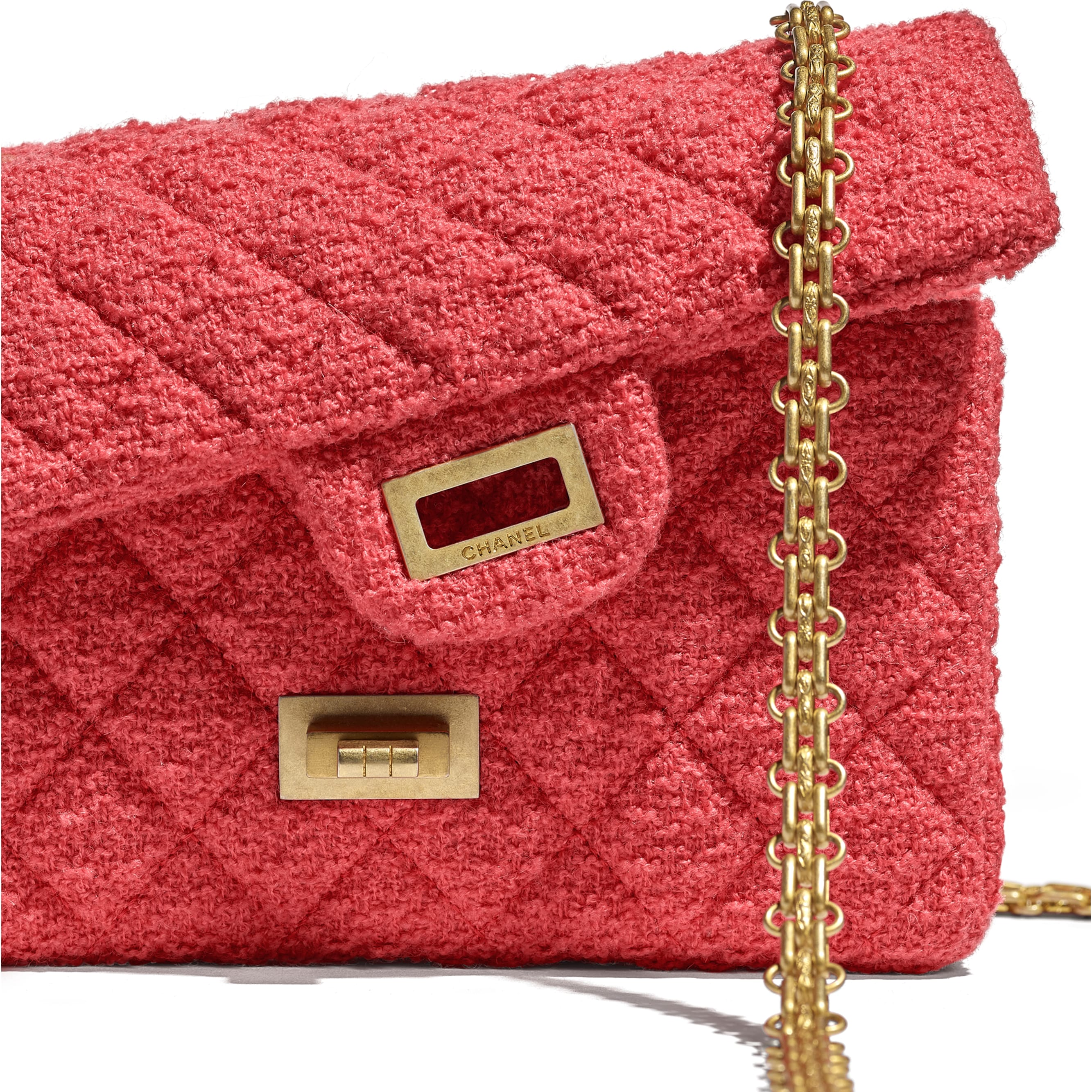 Mini 2.55 Handbag - Coral - Wool Tweed & Gold-Tone Metal - CHANEL - Extra view - see standard sized version