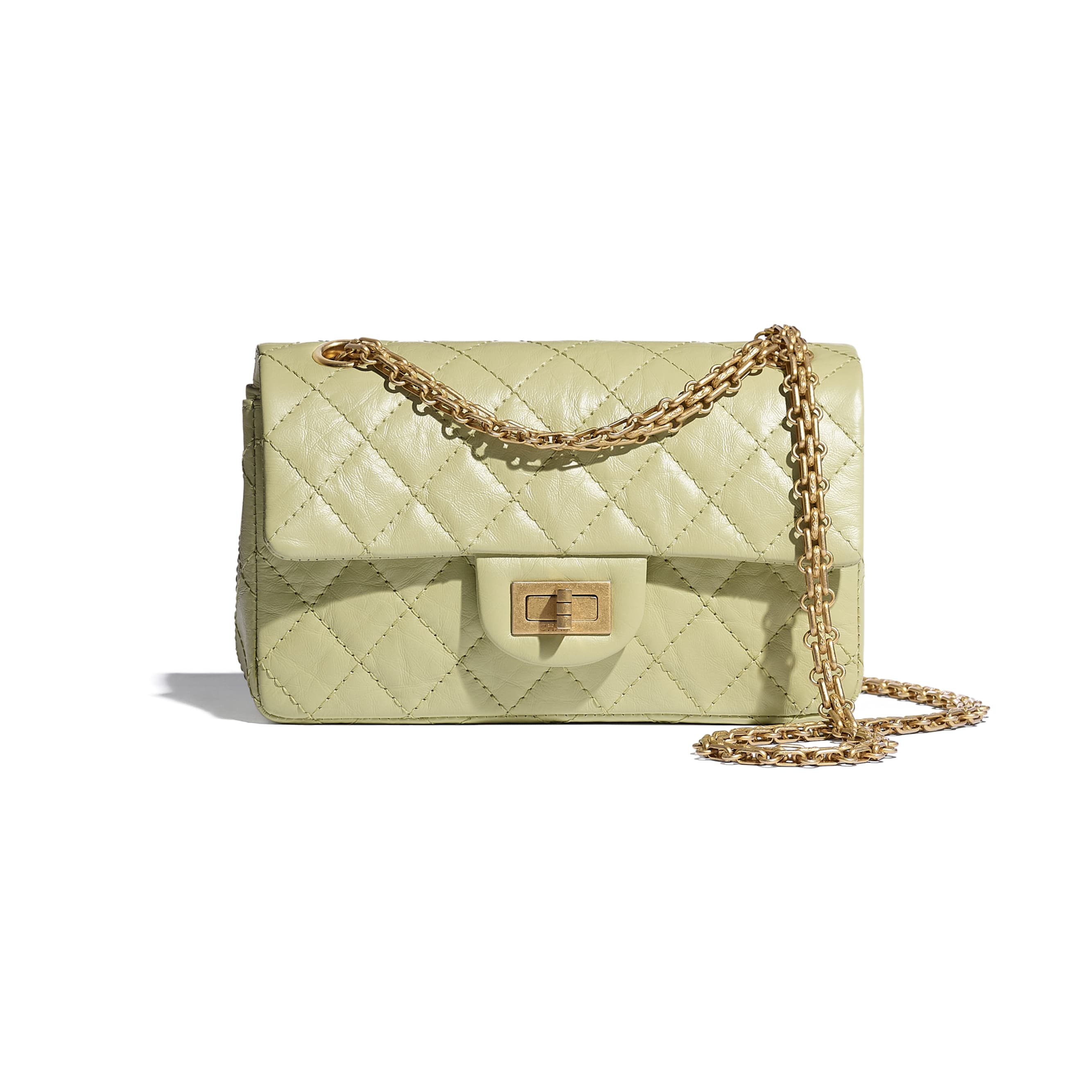 Mini 2.55 Handbag - Green - Aged Calfskin & Gold-Tone Metal - CHANEL - Default view - see standard sized version