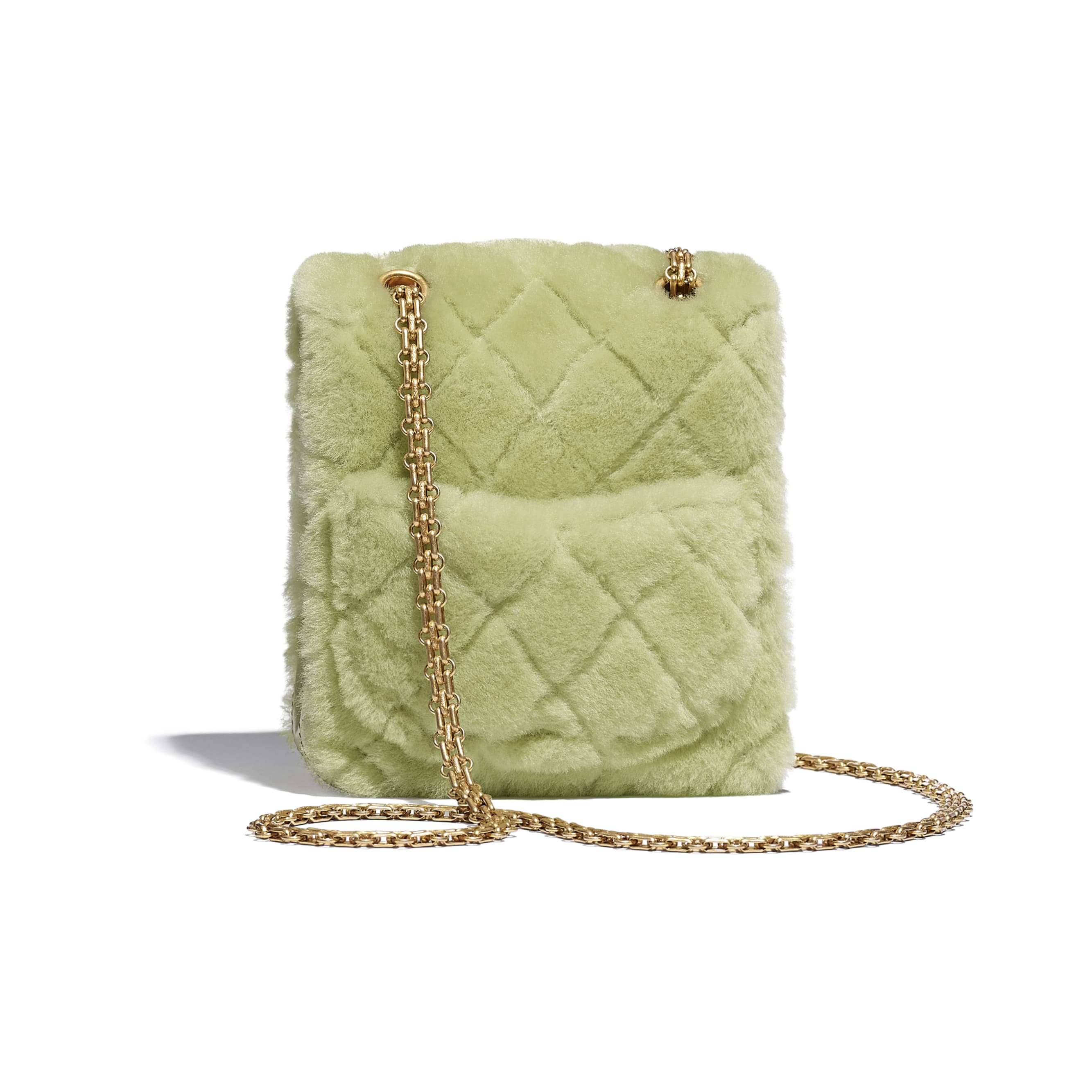 Mini 2.55 Handbag - Green - Shearling Lambskin, Aged Calfskin & Gold-Tone Metal - CHANEL - Alternative view - see standard sized version