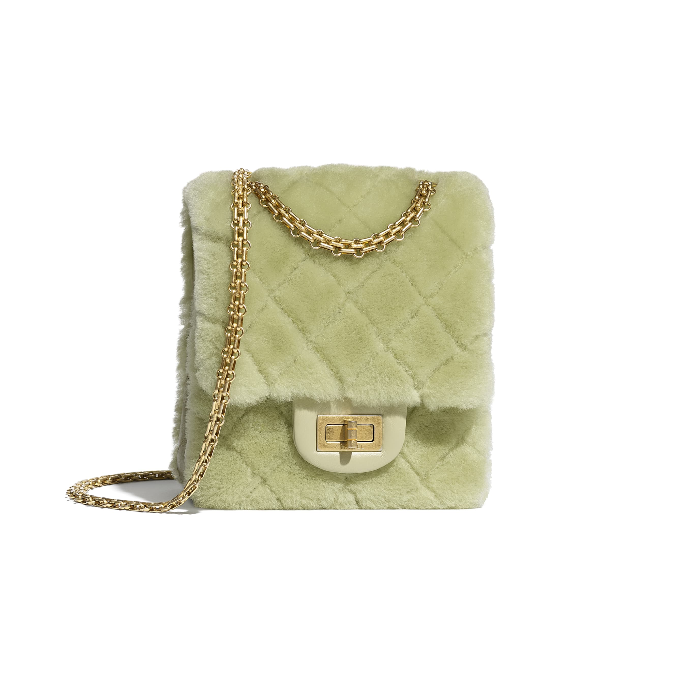 Mini 2.55 Handbag - Green - Shearling Lambskin, Aged Calfskin & Gold-Tone Metal - CHANEL - Default view - see standard sized version