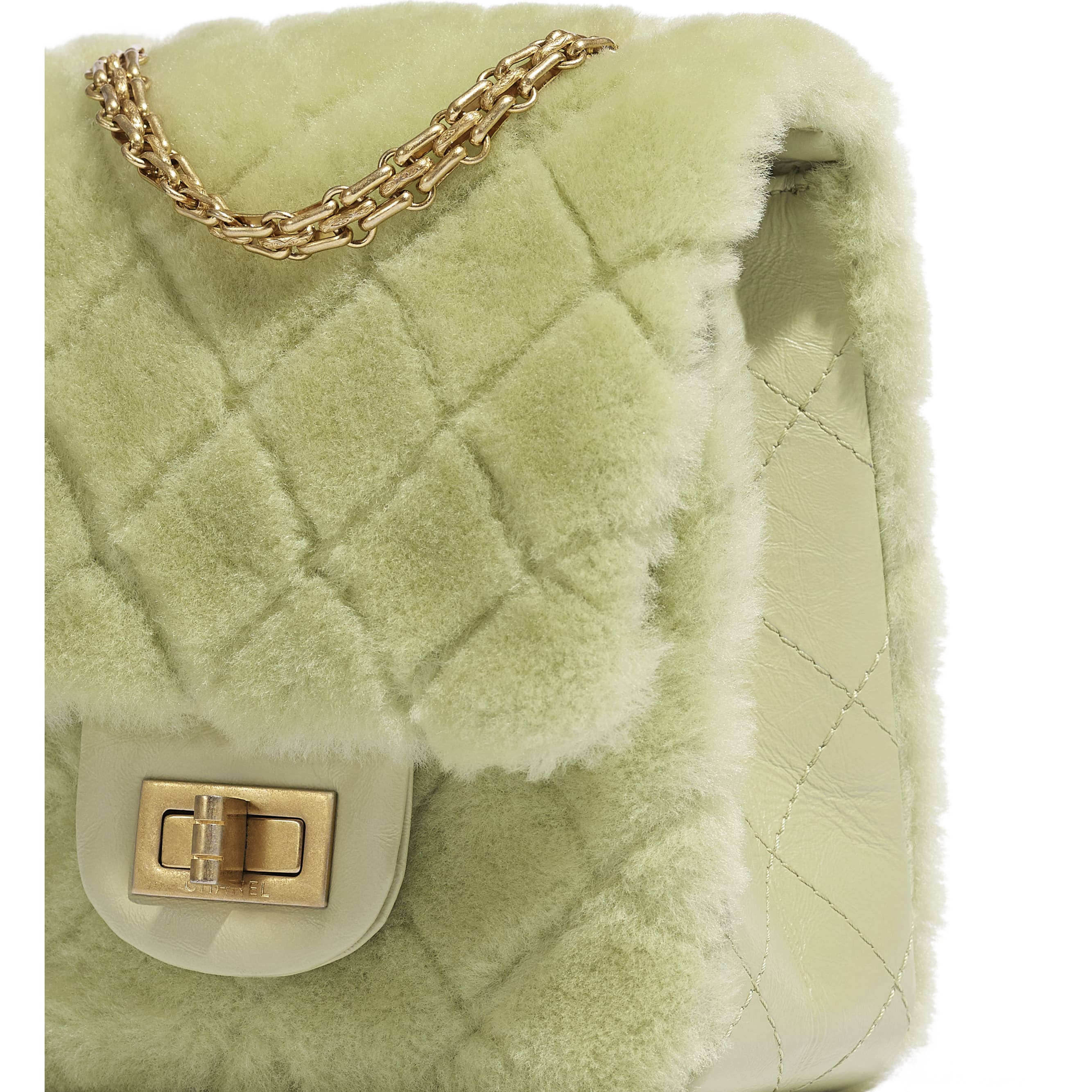 Mini 2.55 Handbag - Green - Shearling Lambskin, Aged Calfskin & Gold-Tone Metal - CHANEL - Extra view - see standard sized version