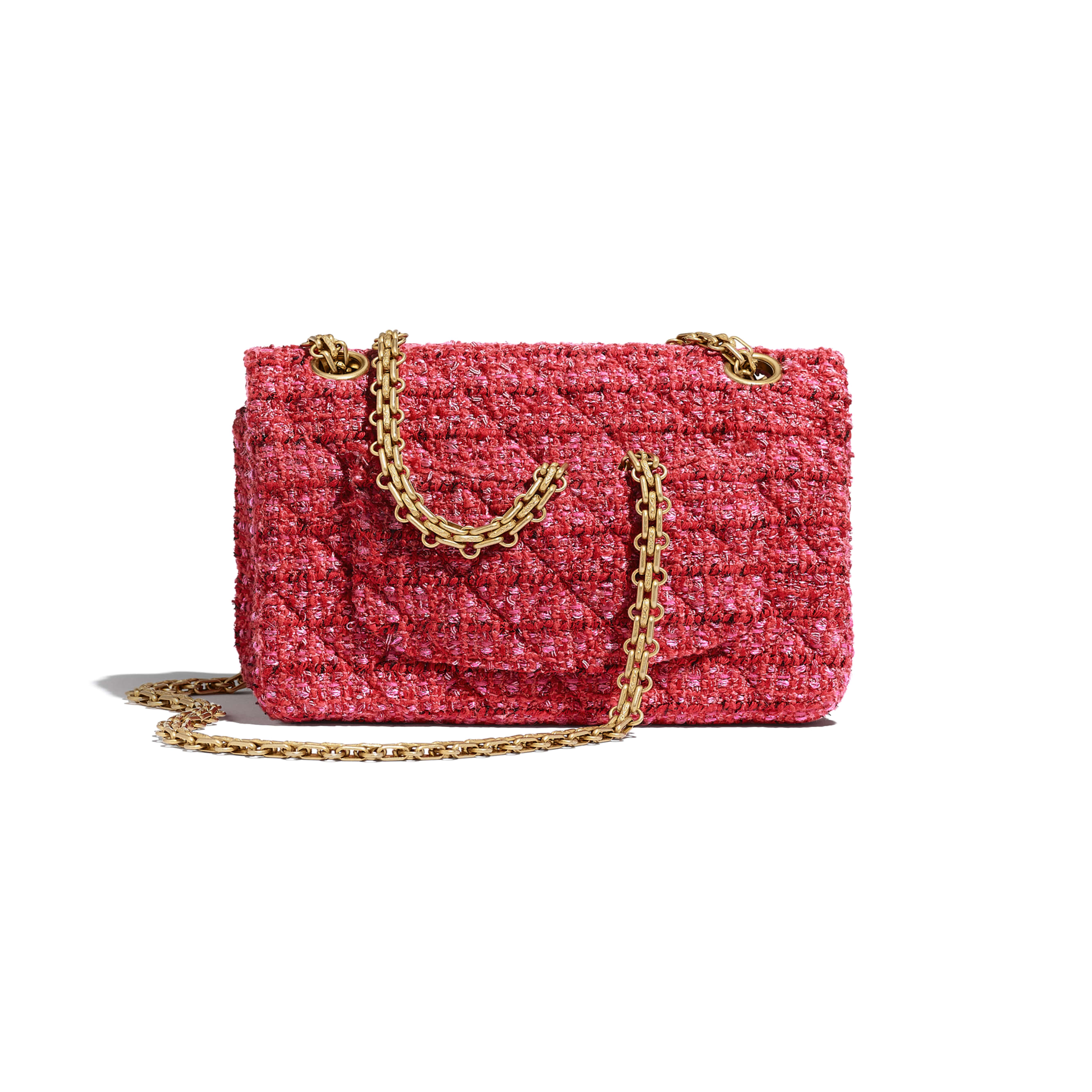 Mini 2.55 Handbag - Red, Ecru & Black - Tweed & Gold Metal - CHANEL - Alternative view - see standard sized version