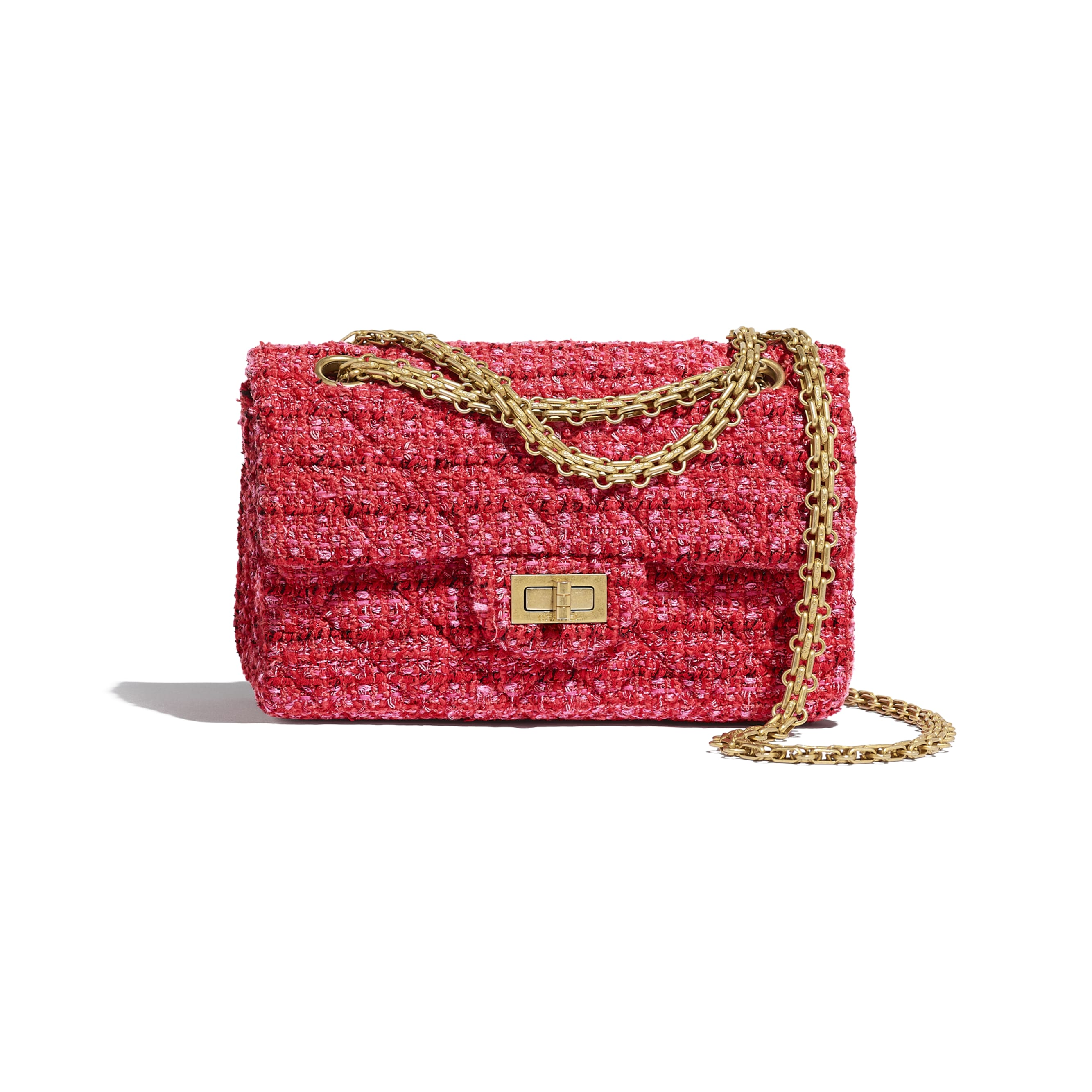 Mini 2.55 Handbag - Red, Ecru & Black - Tweed & Gold Metal - CHANEL - Default view - see standard sized version