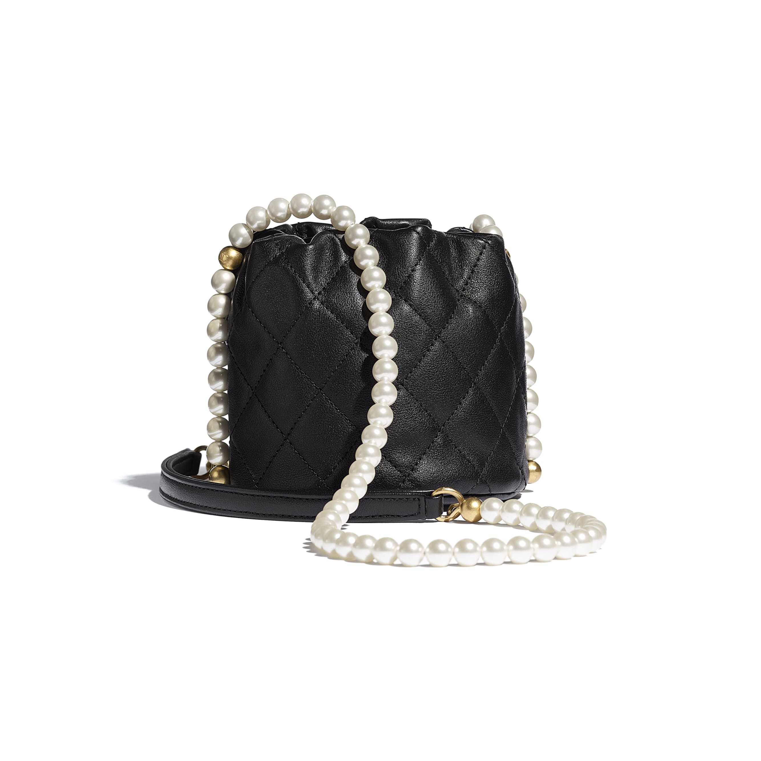 Mini Drawstring Bag - Black - Calfskin, Imitation Pearls & Gold-Tone Metal - CHANEL - Alternative view - see standard sized version