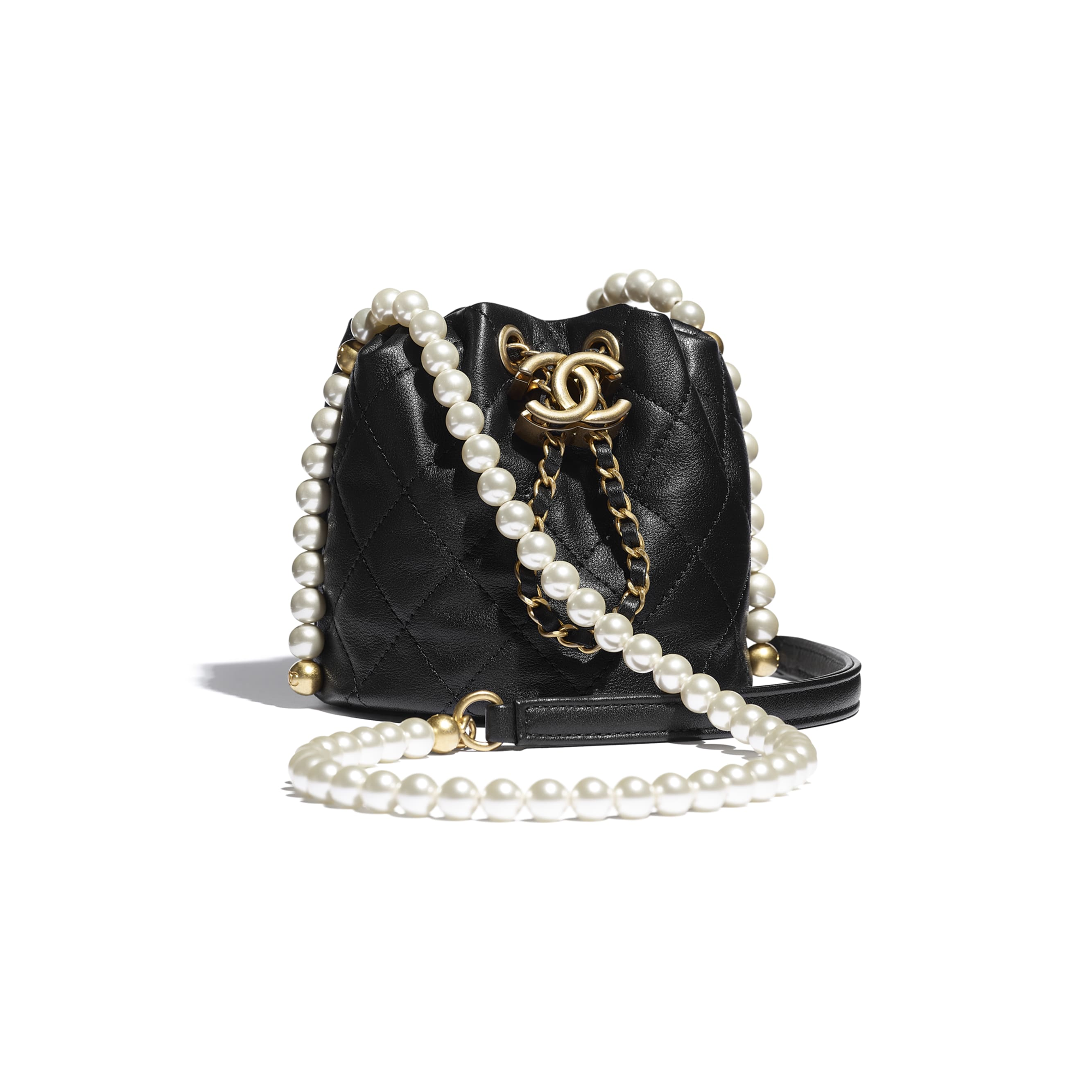 Mini Drawstring Bag - Black - Calfskin, Imitation Pearls & Gold-Tone Metal - CHANEL - Default view - see standard sized version