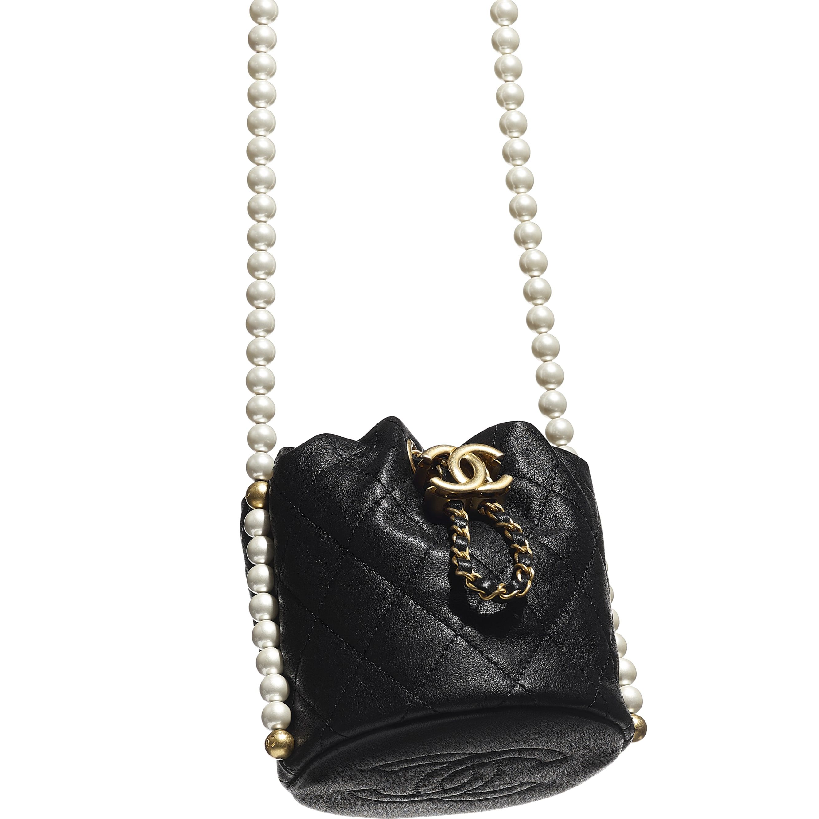 Mini Drawstring Bag - Black - Calfskin, Imitation Pearls & Gold-Tone Metal - CHANEL - Extra view - see standard sized version