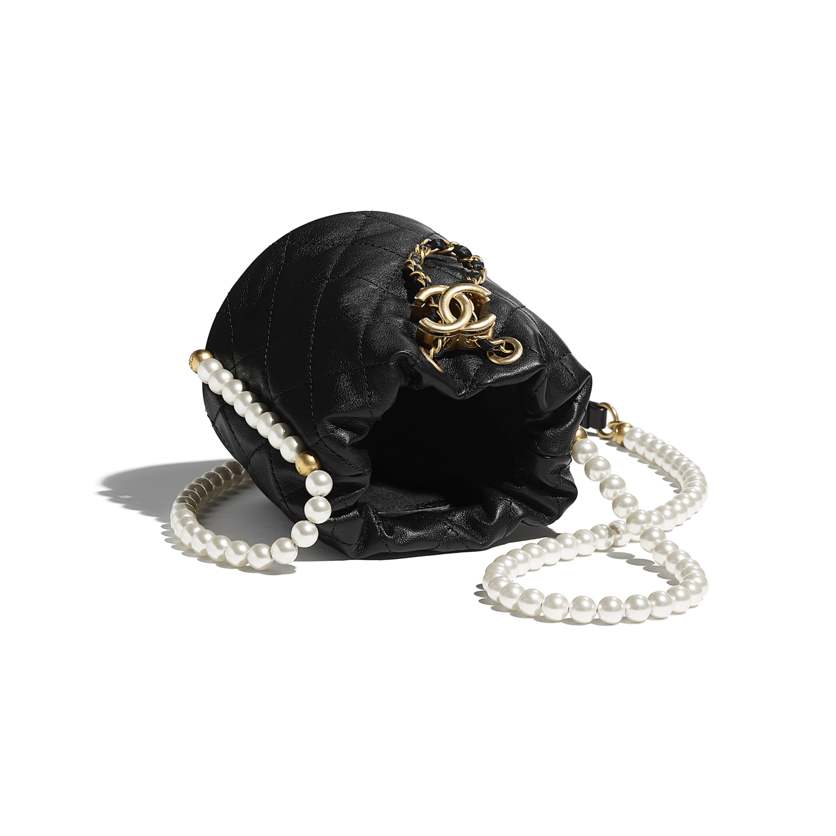 Mini Drawstring Bag - Black - Calfskin, Imitation Pearls & Gold-Tone Metal - CHANEL - Other view - see standard sized version