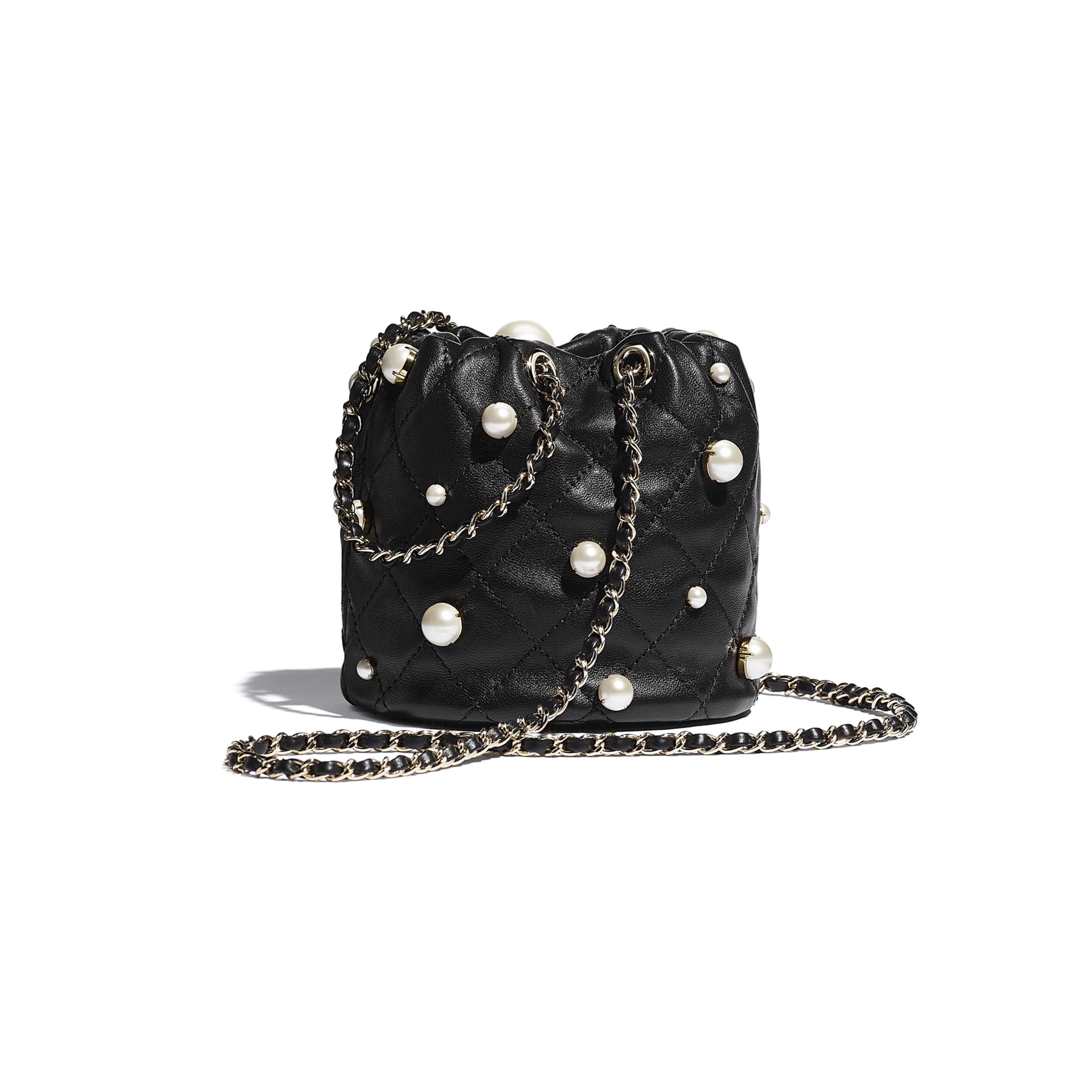Mini Drawstring Bag - Black - Lambskin, Imitation Pearls & Gold Metal - CHANEL - Alternative view - see standard sized version