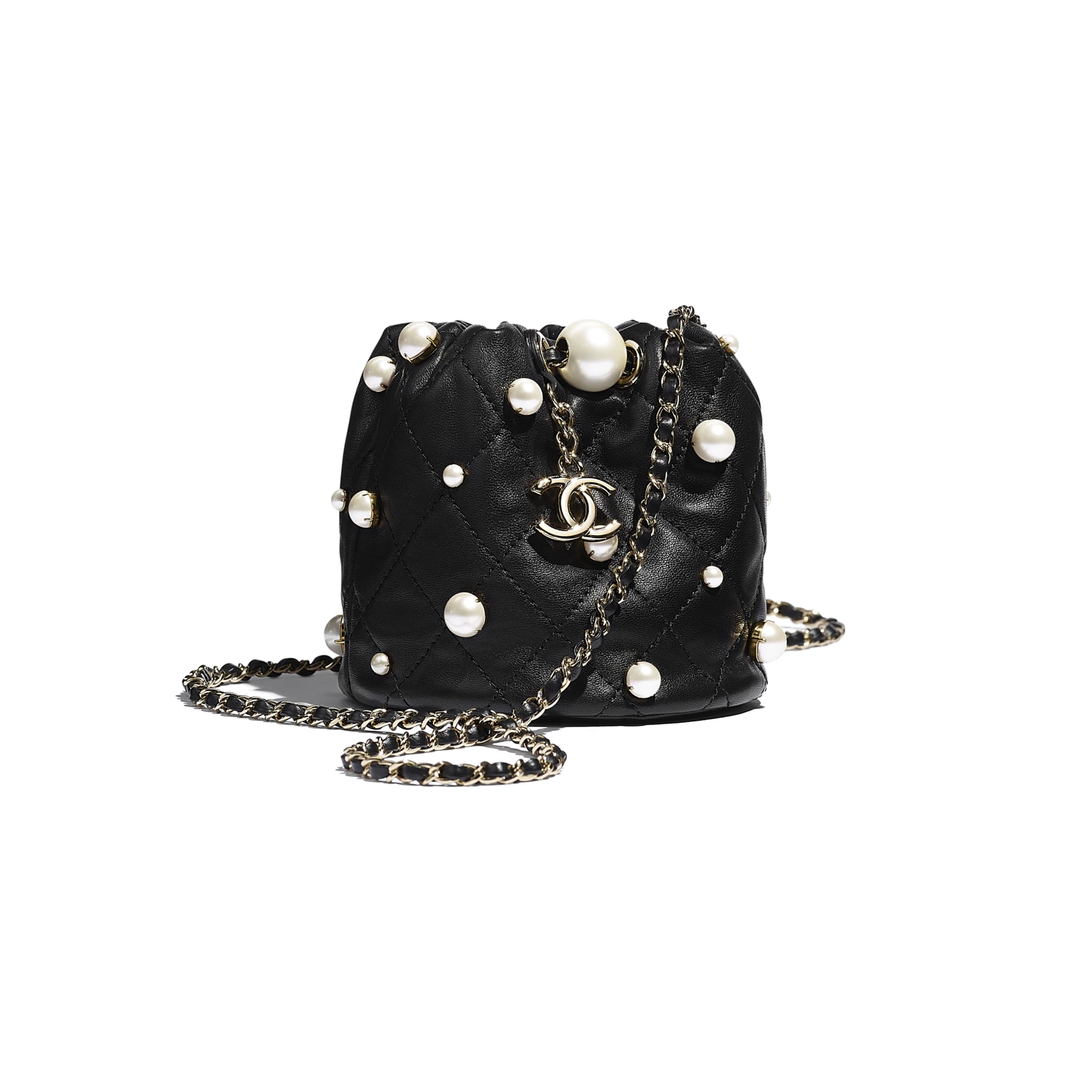 Mini Drawstring Bag - Black - Lambskin, Imitation Pearls & Gold Metal - CHANEL - Default view - see standard sized version