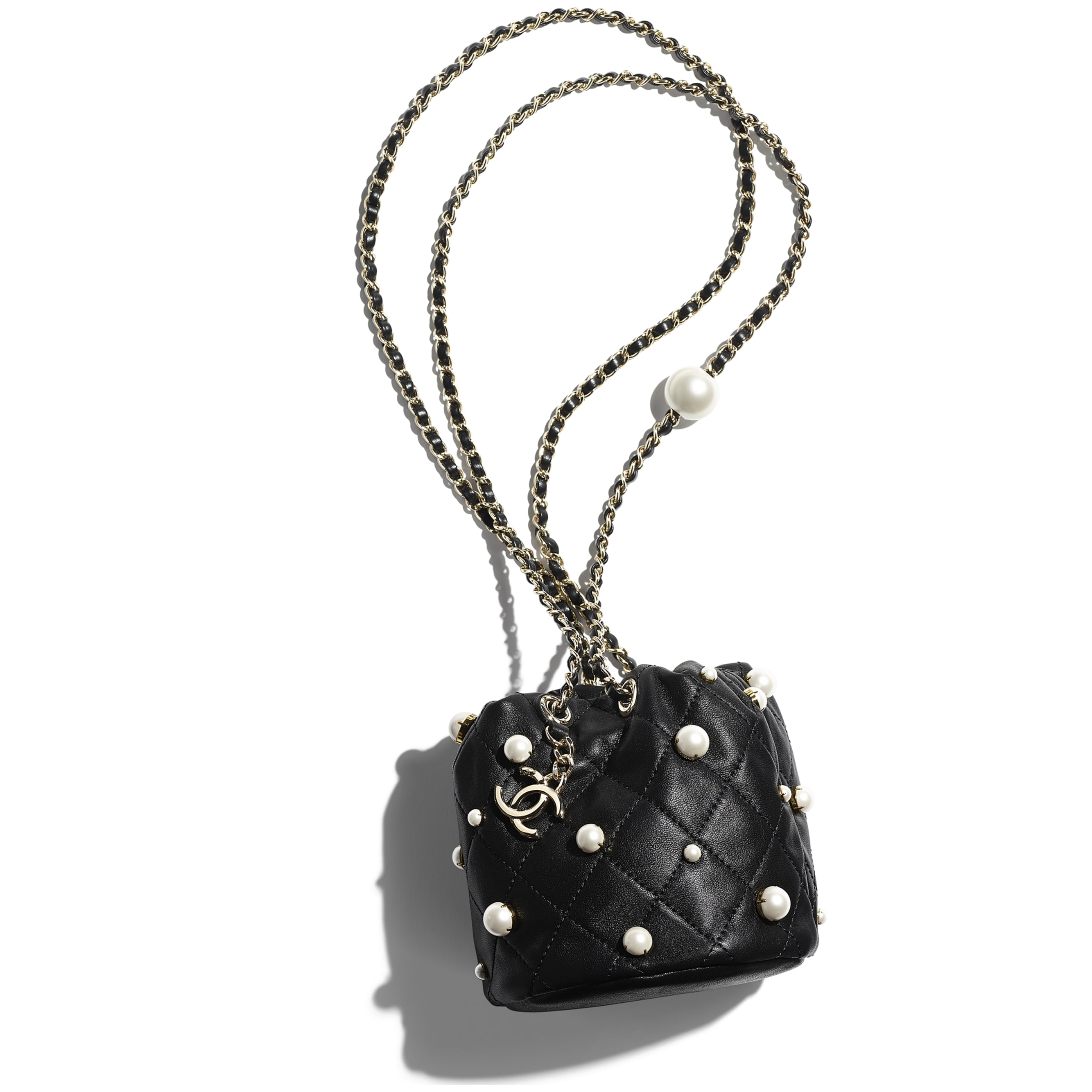 Mini Drawstring Bag - Black - Lambskin, Imitation Pearls & Gold Metal - CHANEL - Extra view - see standard sized version
