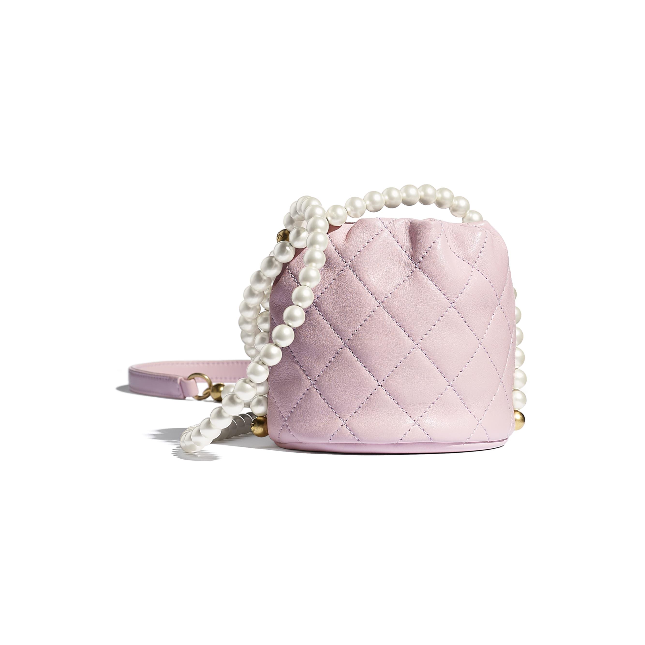 Mini Drawstring Bag - Light Pink - Calfskin, Imitation Pearls & Gold-Tone Metal - CHANEL - Alternative view - see standard sized version