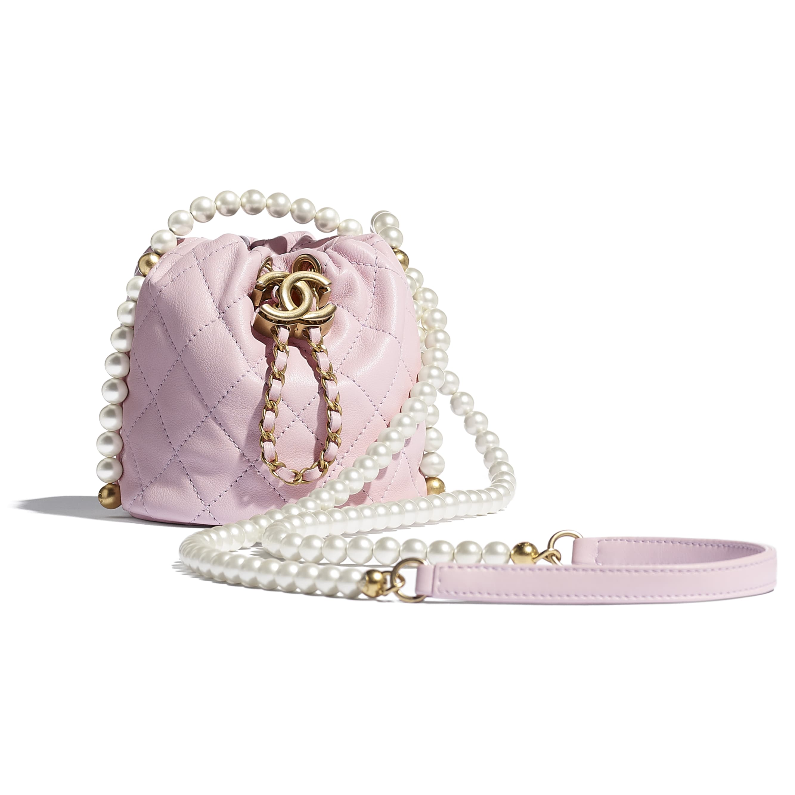 Mini Drawstring Bag - Light Pink - Calfskin, Imitation Pearls & Gold-Tone Metal - CHANEL - Default view - see standard sized version