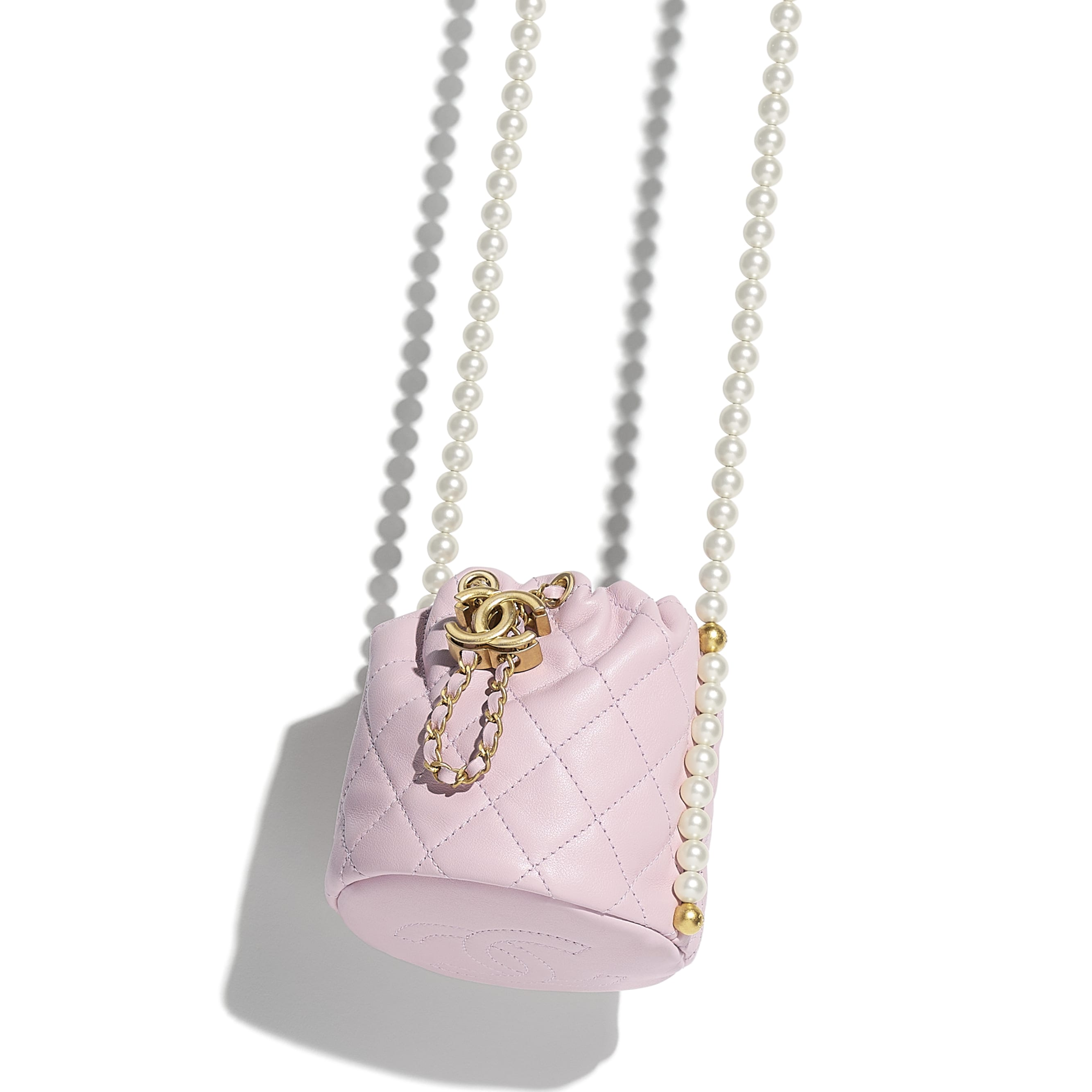 Mini Drawstring Bag - Light Pink - Calfskin, Imitation Pearls & Gold-Tone Metal - CHANEL - Extra view - see standard sized version