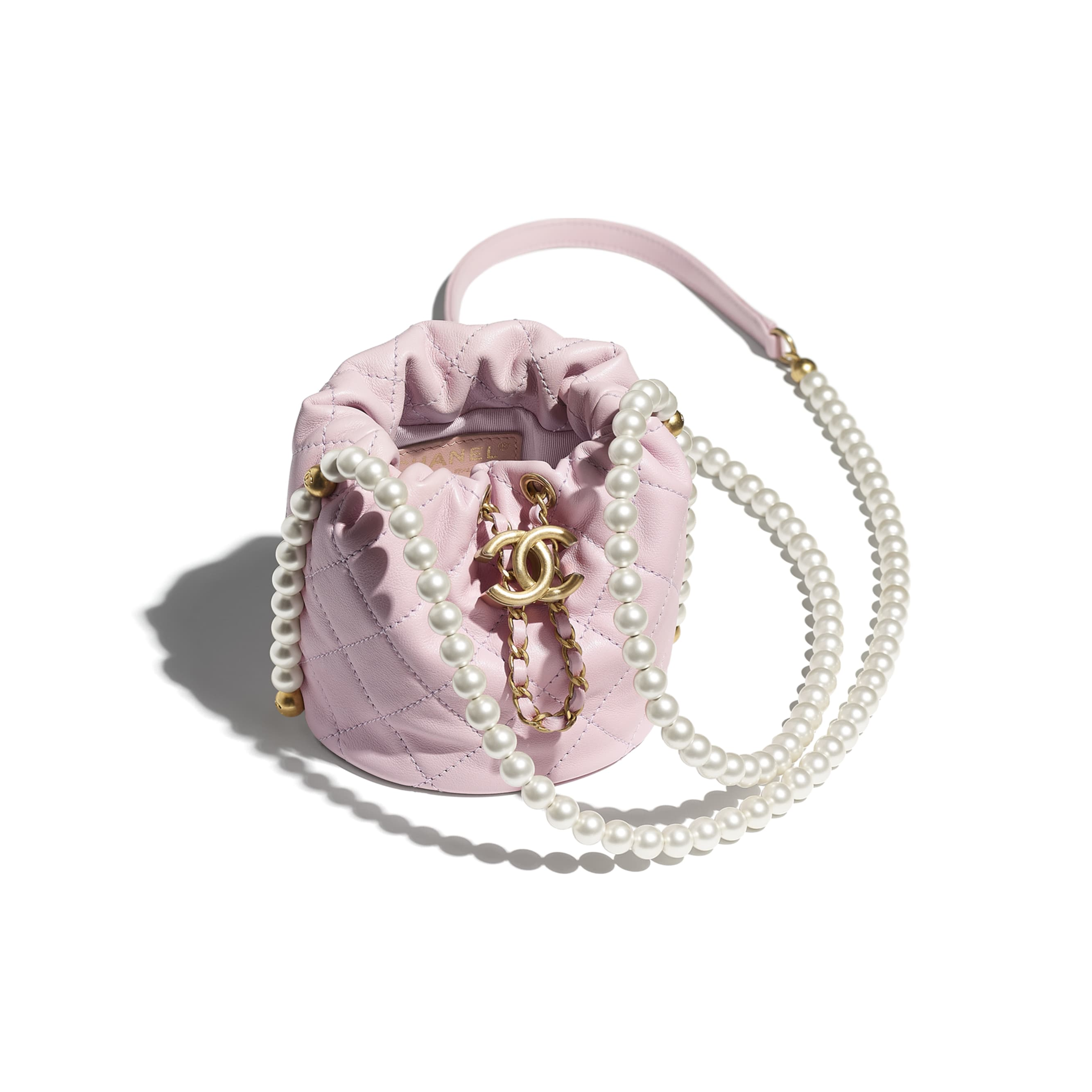 Mini Drawstring Bag - Light Pink - Calfskin, Imitation Pearls & Gold-Tone Metal - CHANEL - Other view - see standard sized version