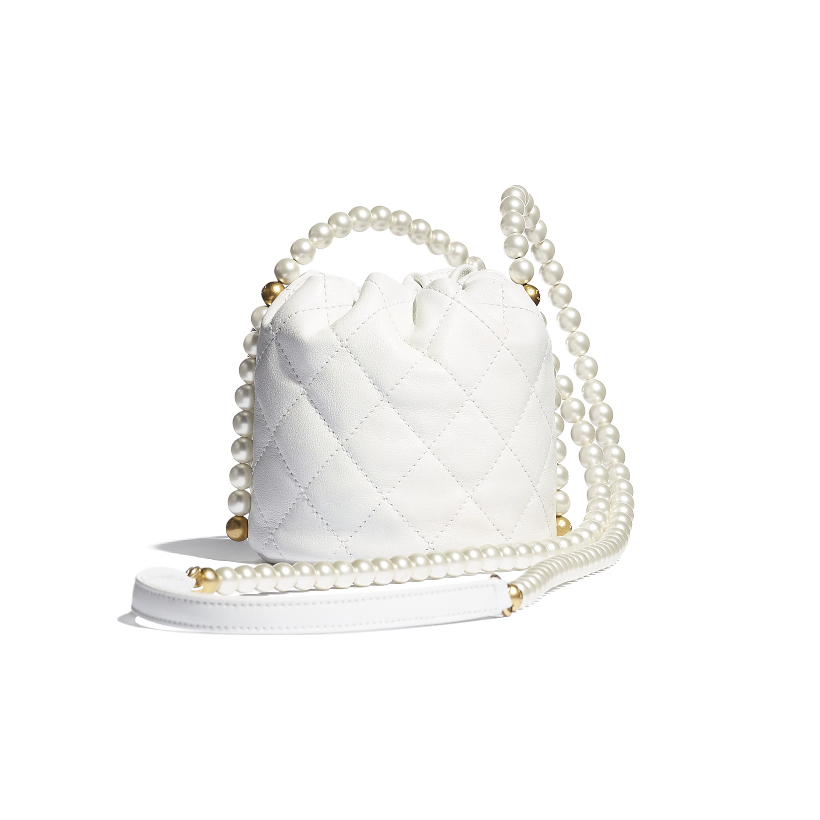 Mini Drawstring Bag - White - Calfskin, Imitation Pearls & Gold-Tone Metal - CHANEL - Alternative view - see standard sized version