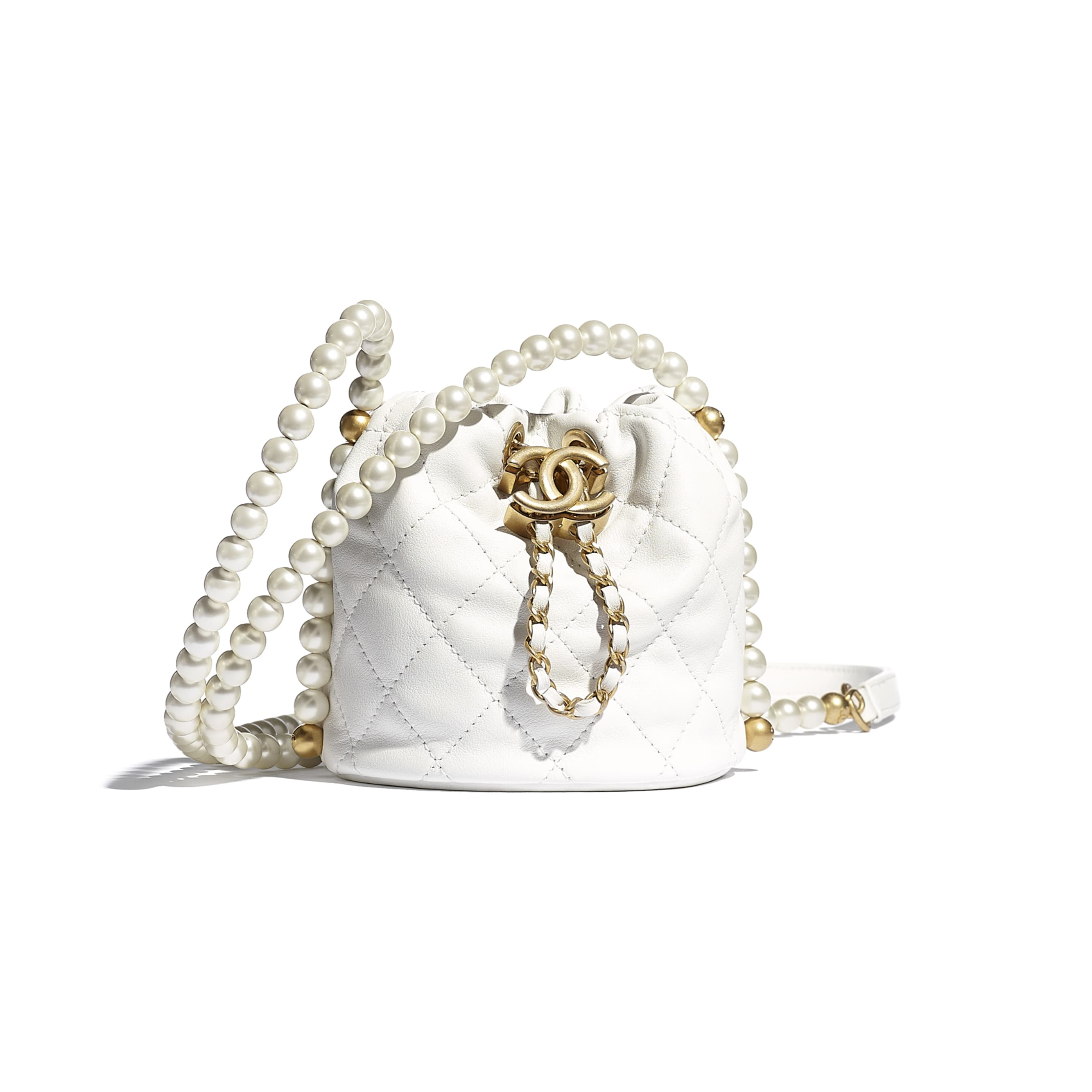 Mini Drawstring Bag - White - Calfskin, Imitation Pearls & Gold-Tone Metal - CHANEL - Default view - see standard sized version