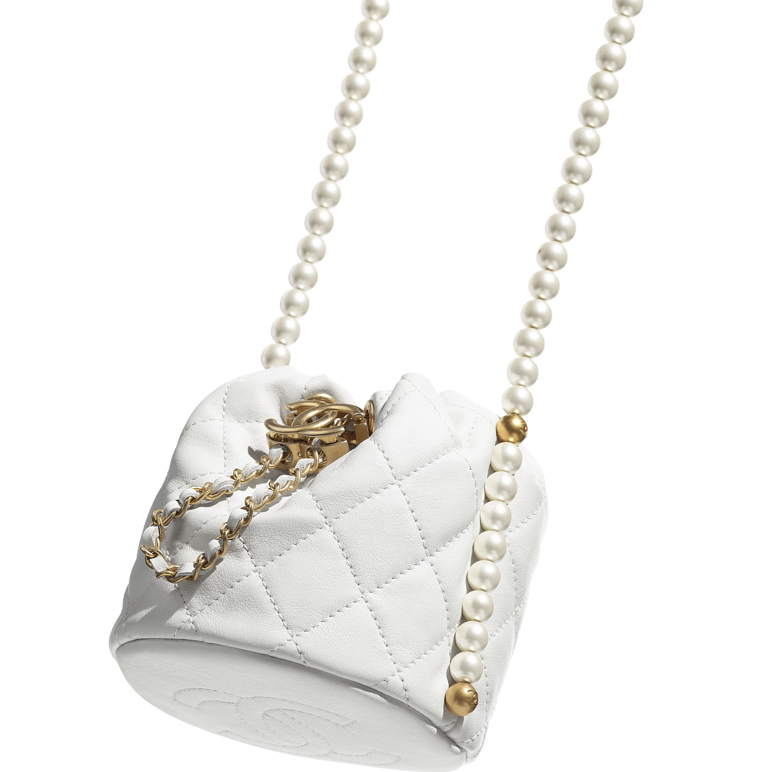 Mini Drawstring Bag - White - Calfskin, Imitation Pearls & Gold-Tone Metal - CHANEL - Extra view - see standard sized version