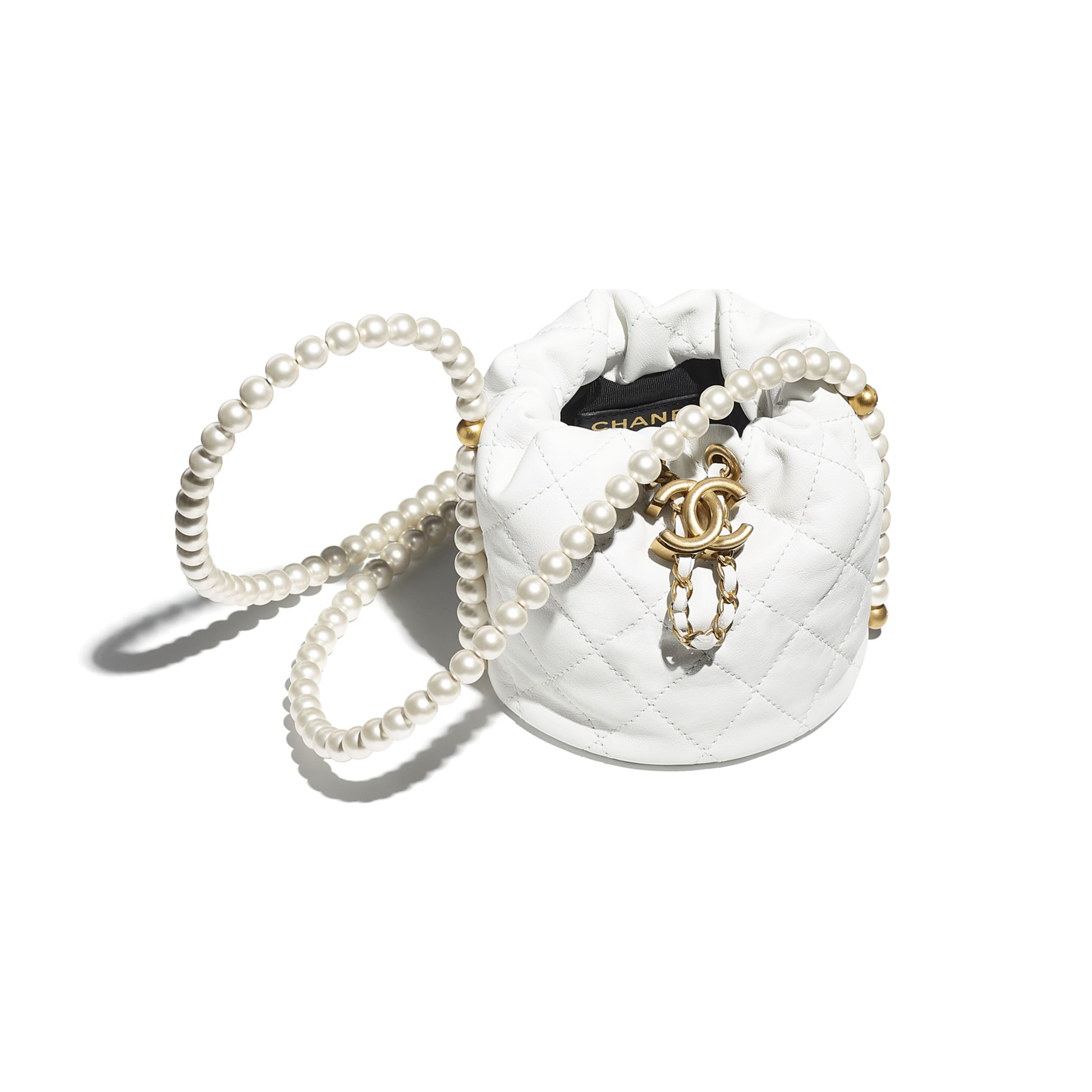 Mini Drawstring Bag - White - Calfskin, Imitation Pearls & Gold-Tone Metal - CHANEL - Other view - see standard sized version