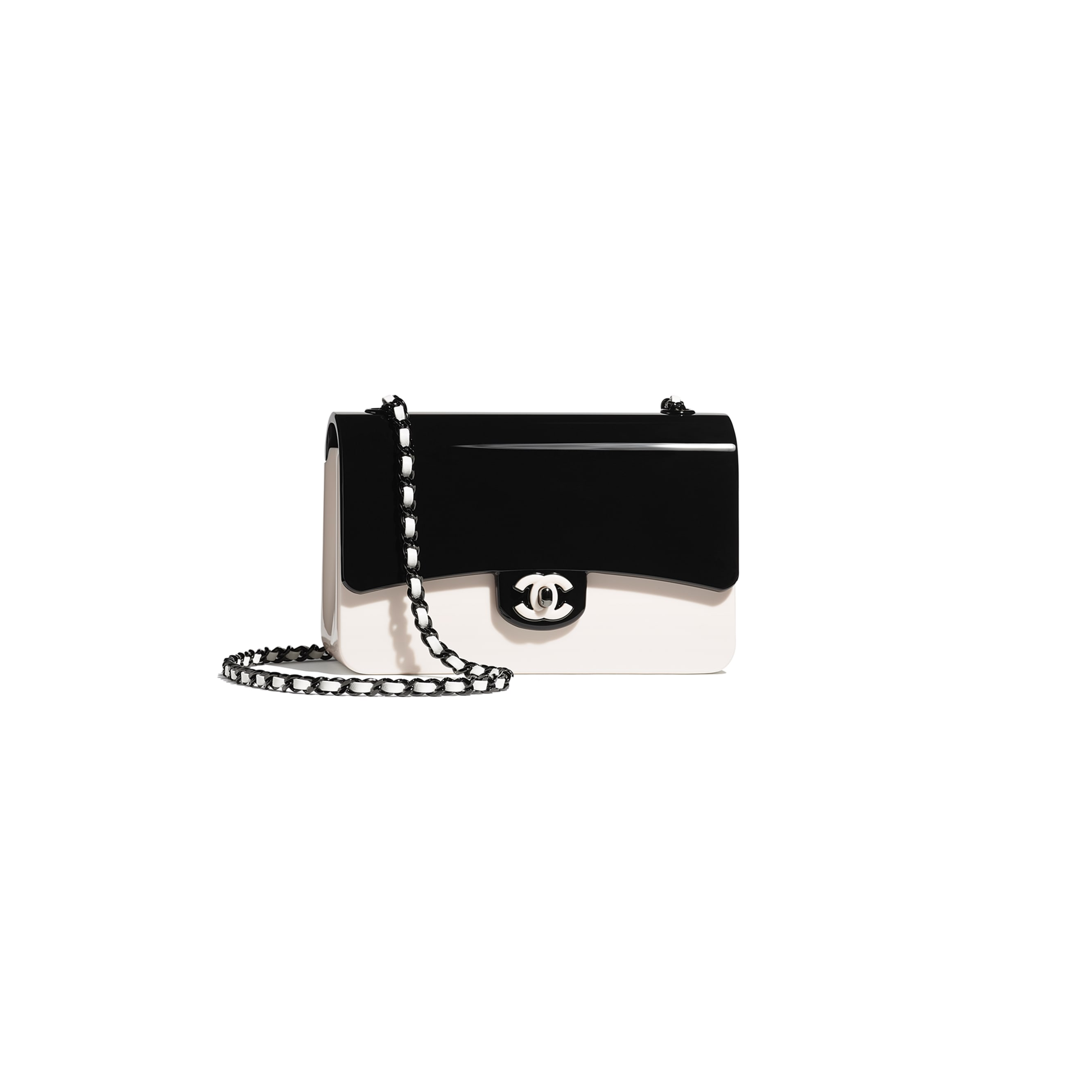 Mini Evening Bag - Black & White - Plexi & Black Metal - CHANEL - Default view - see standard sized version