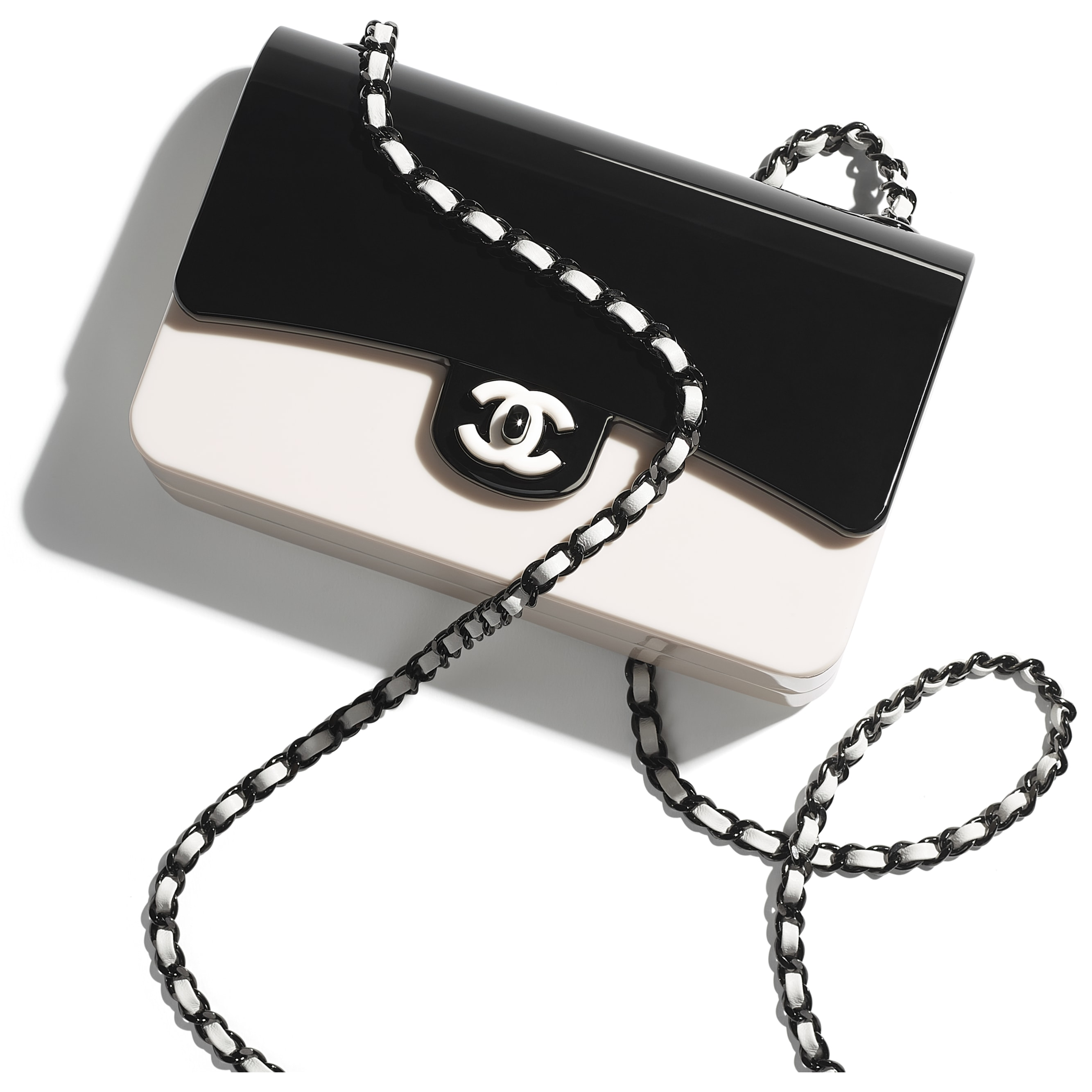 Mini Evening Bag - Black & White - Plexi & Black Metal - CHANEL - Extra view - see standard sized version