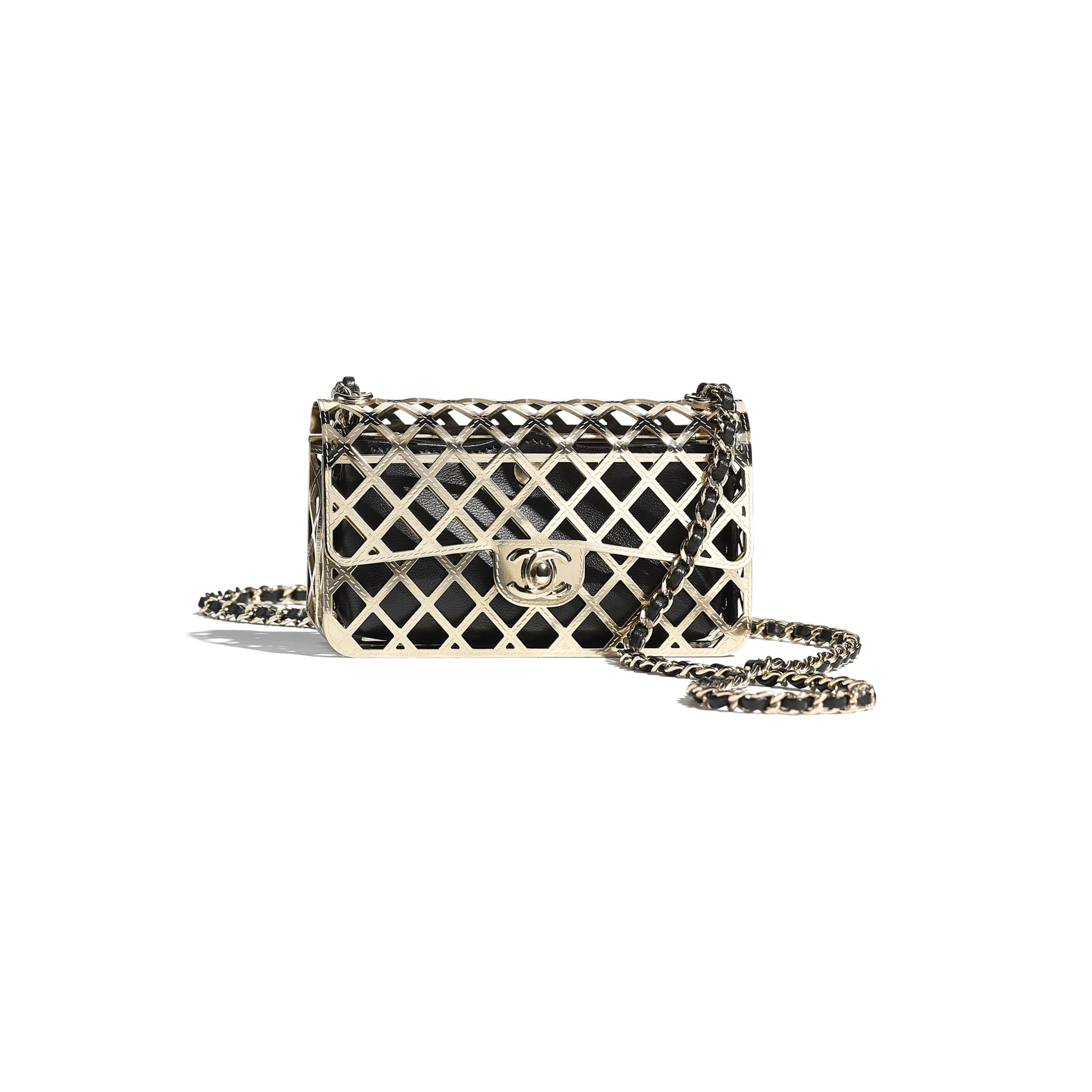 Mini Evening Bag - Gold & Black - Gold-Tone Metal & Lambskin - CHANEL - Default view - see standard sized version