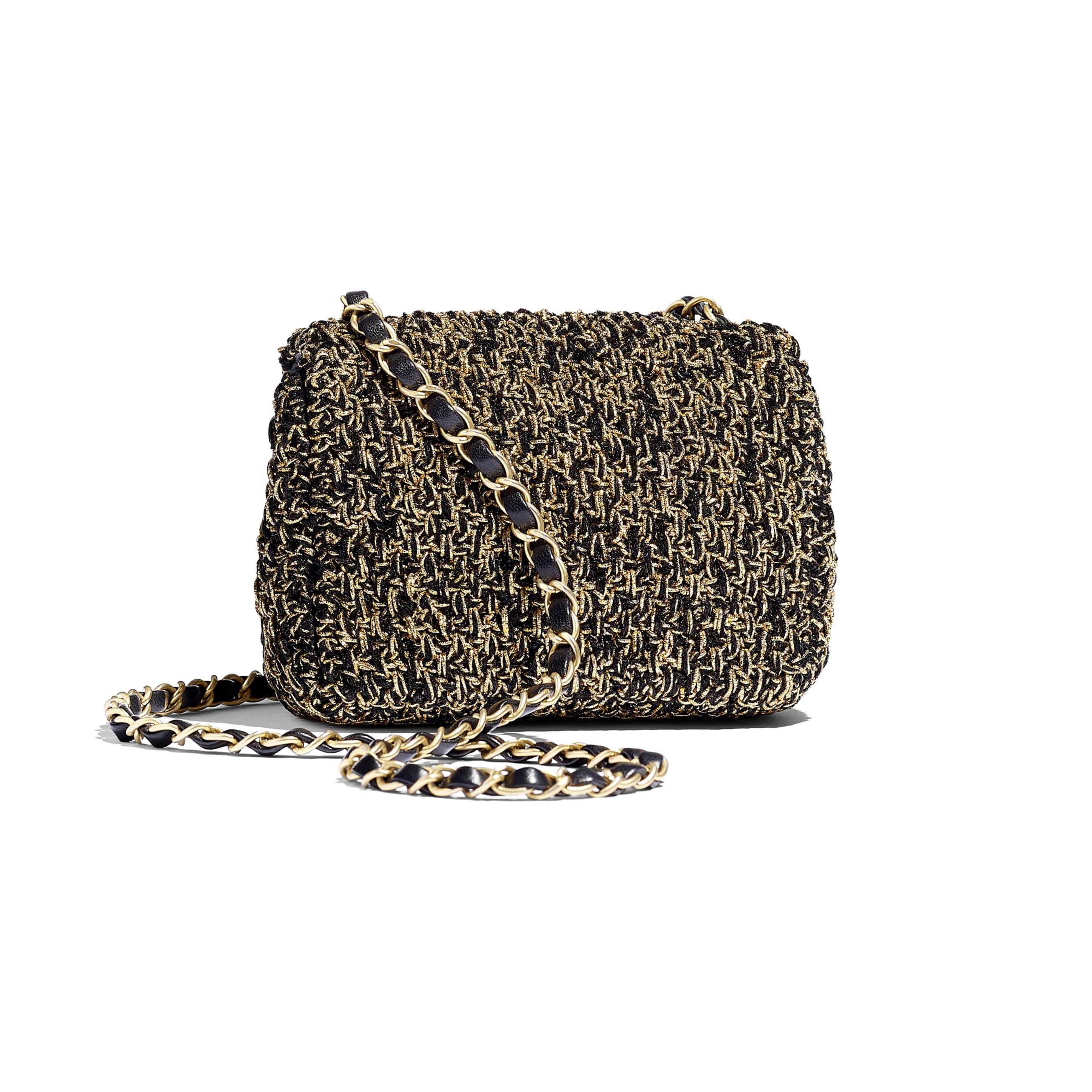 Mini Flap Bag - Black & Gold - Cotton, Mixed Fibers & Gold-Tone Metal - Alternative view - see standard sized version