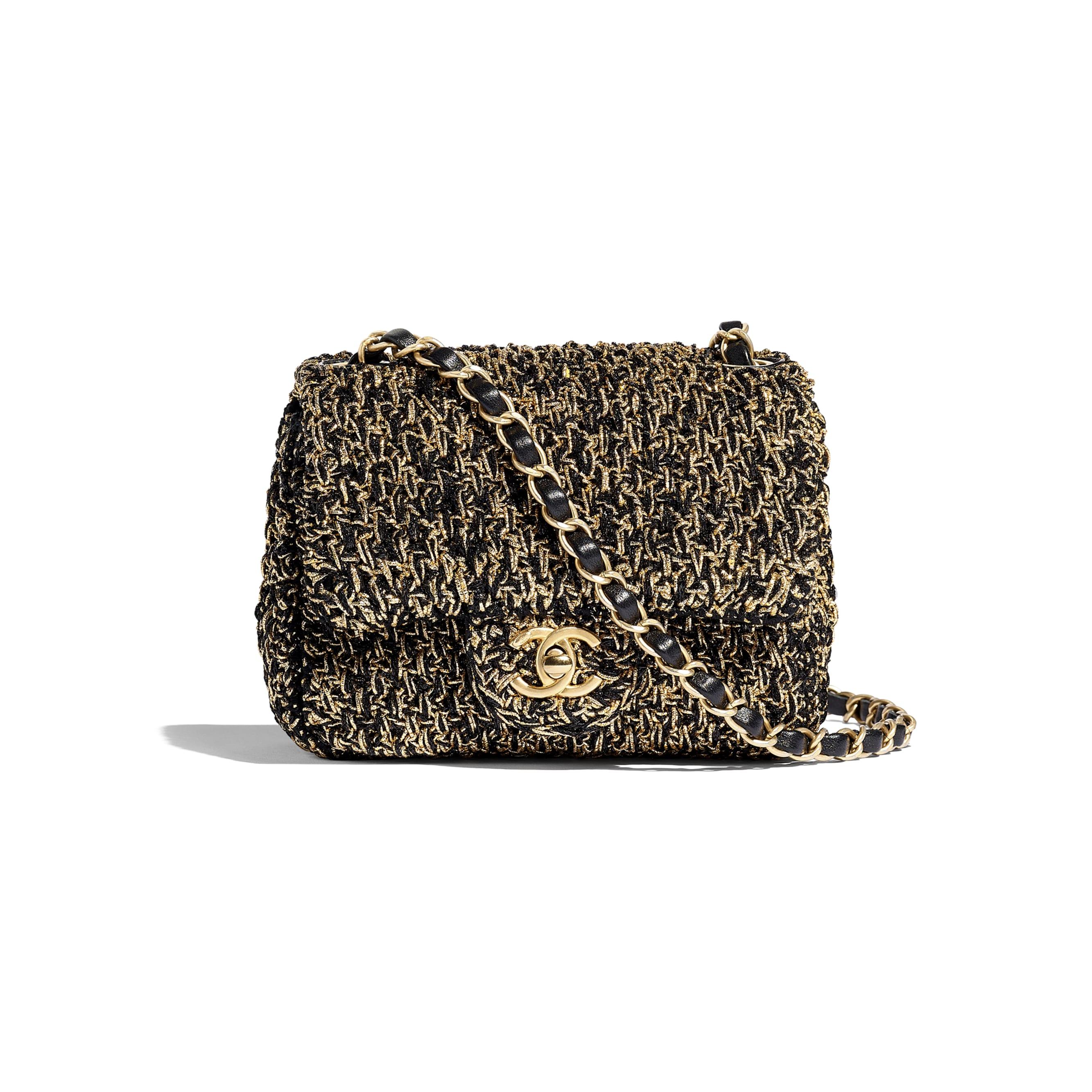 Mini Flap Bag - Black & Gold - Cotton, Mixed Fibers & Gold-Tone Metal - Default view - see standard sized version
