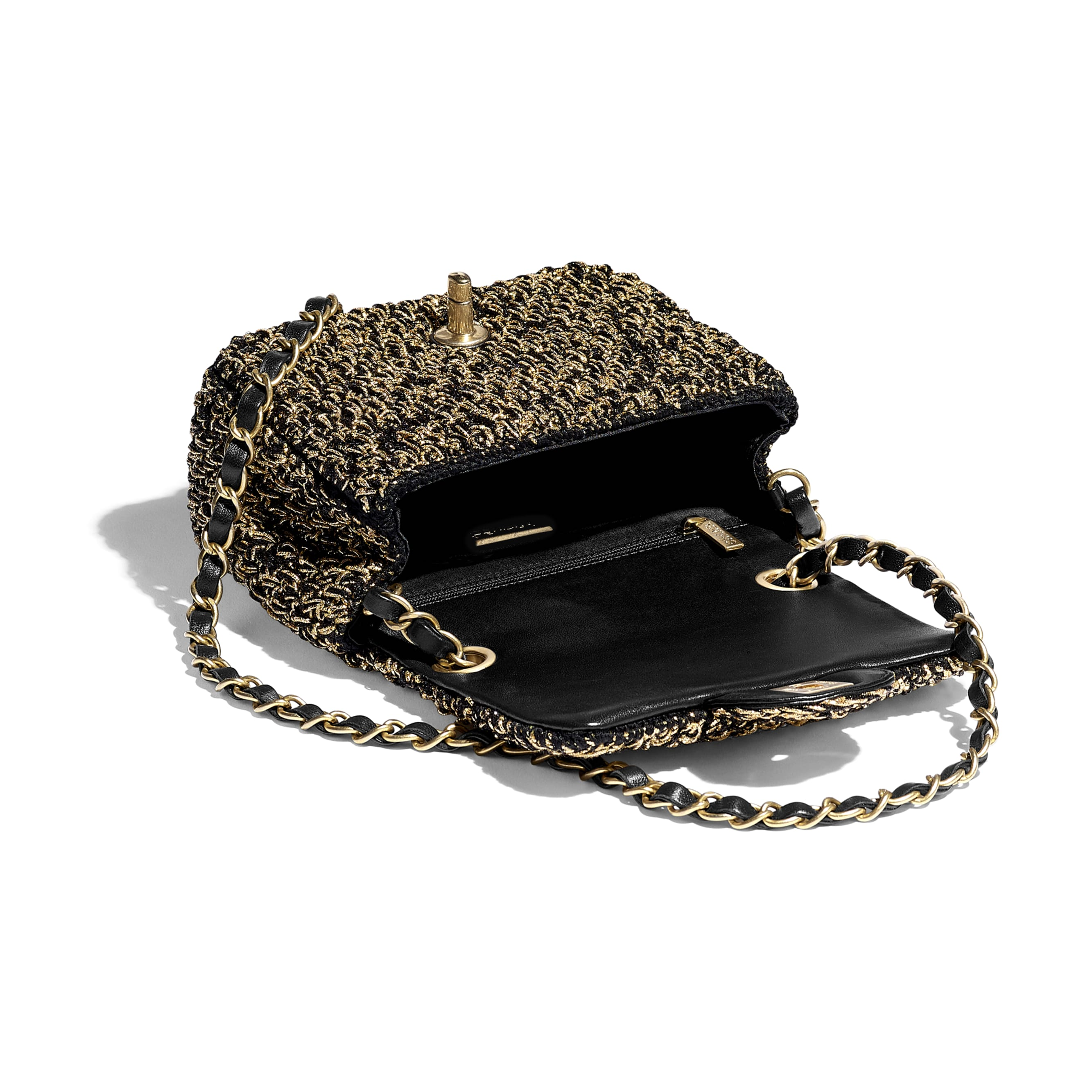 Mini Flap Bag - Black & Gold - Cotton, Mixed Fibers & Gold-Tone Metal - Other view - see standard sized version