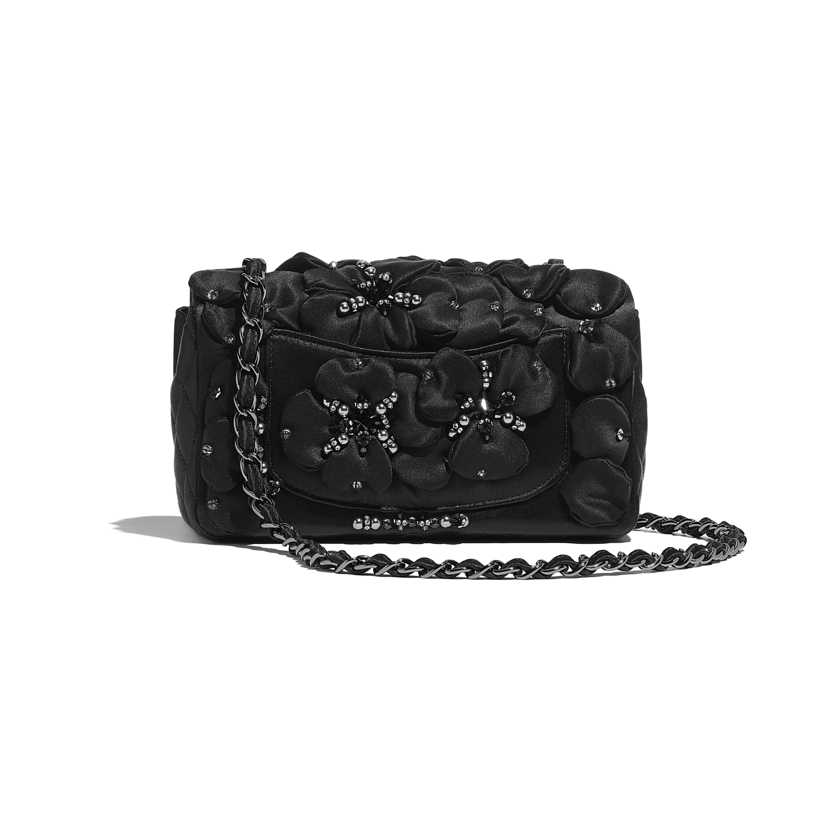Mini Flap Bag - Black - Satin, Diamanté & Ruthenium-Finish Metal - CHANEL - Alternative view - see standard sized version