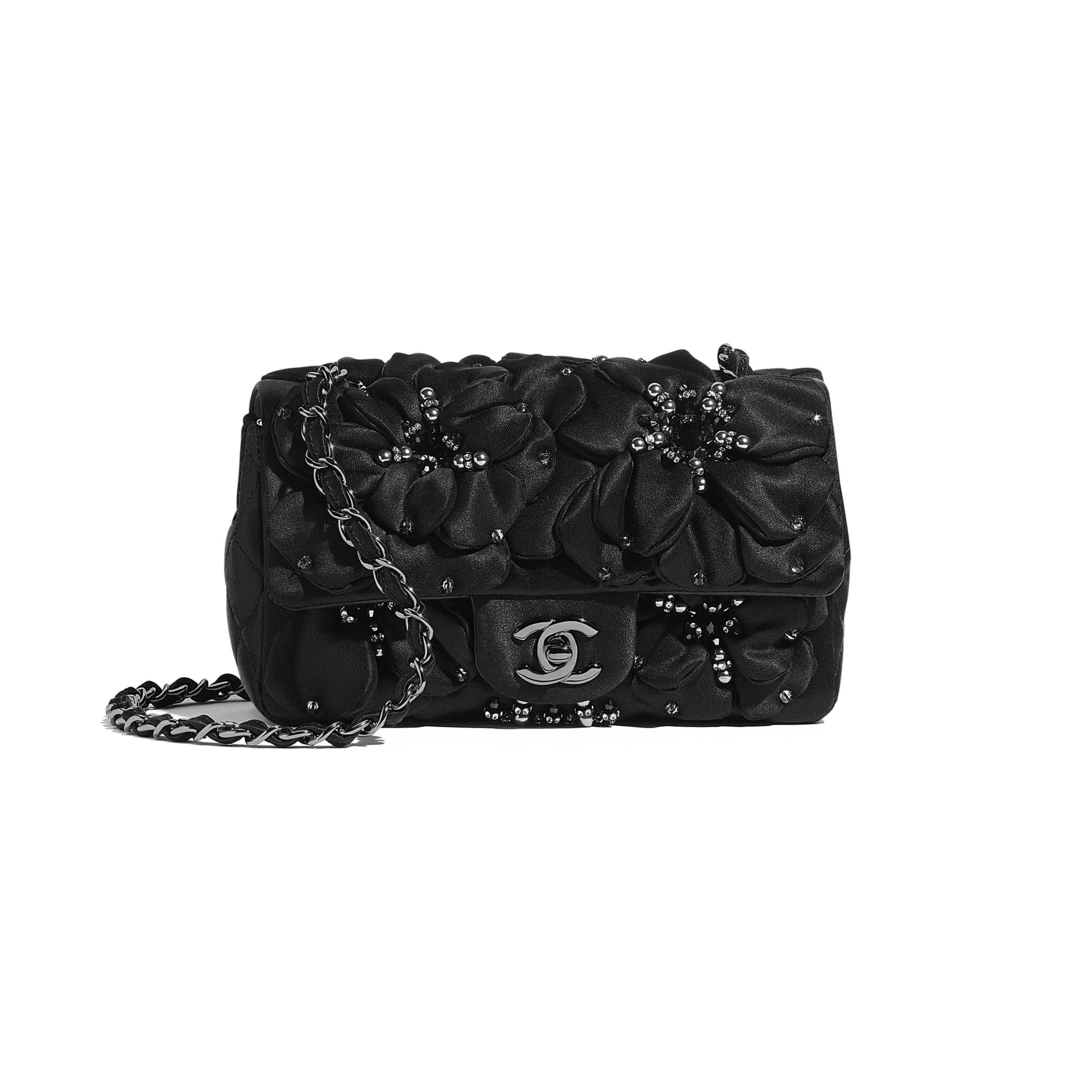 Mini Flap Bag - Black - Satin, Diamanté & Ruthenium-Finish Metal - CHANEL - Default view - see standard sized version