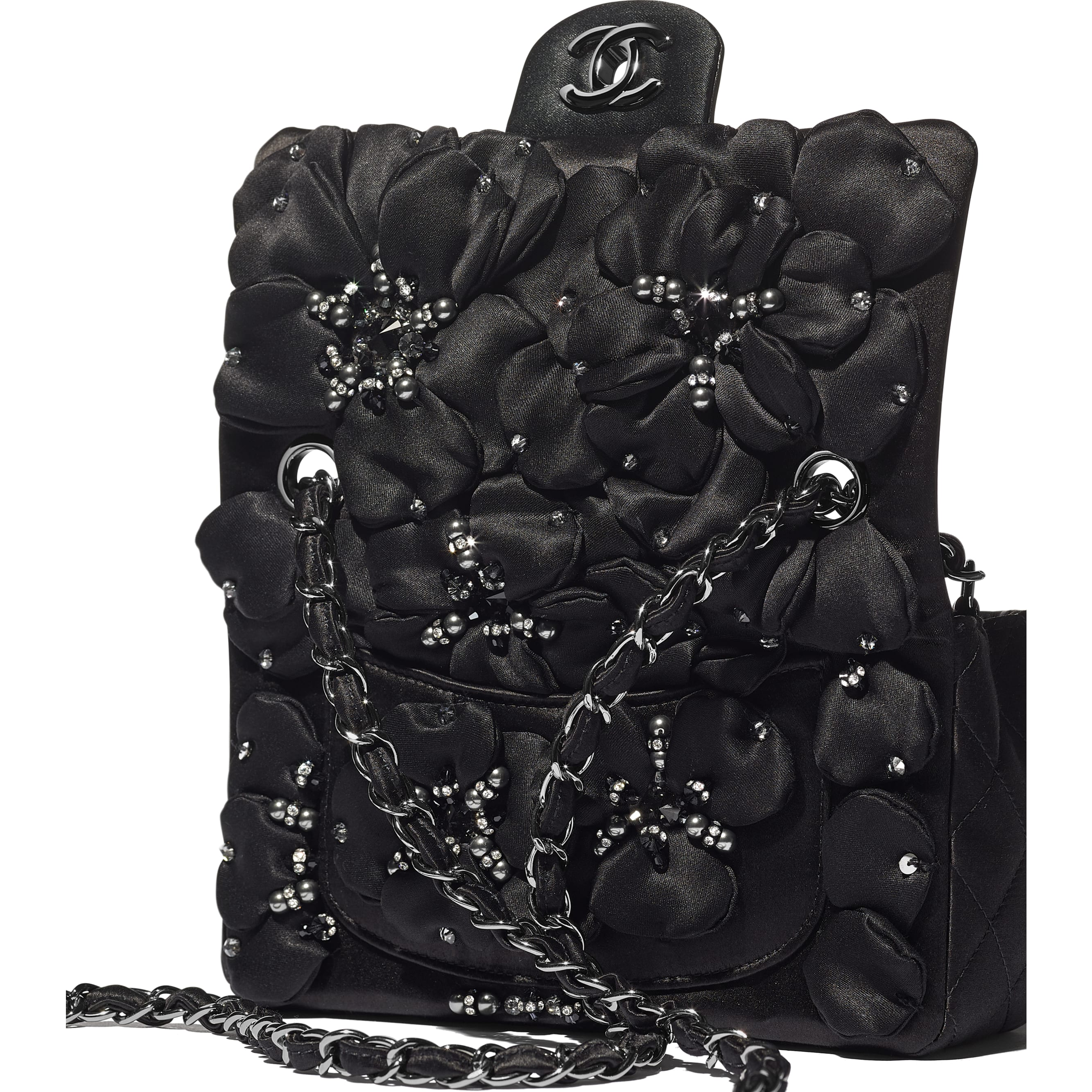 Mini Flap Bag - Black - Satin, Diamanté & Ruthenium-Finish Metal - CHANEL - Extra view - see standard sized version