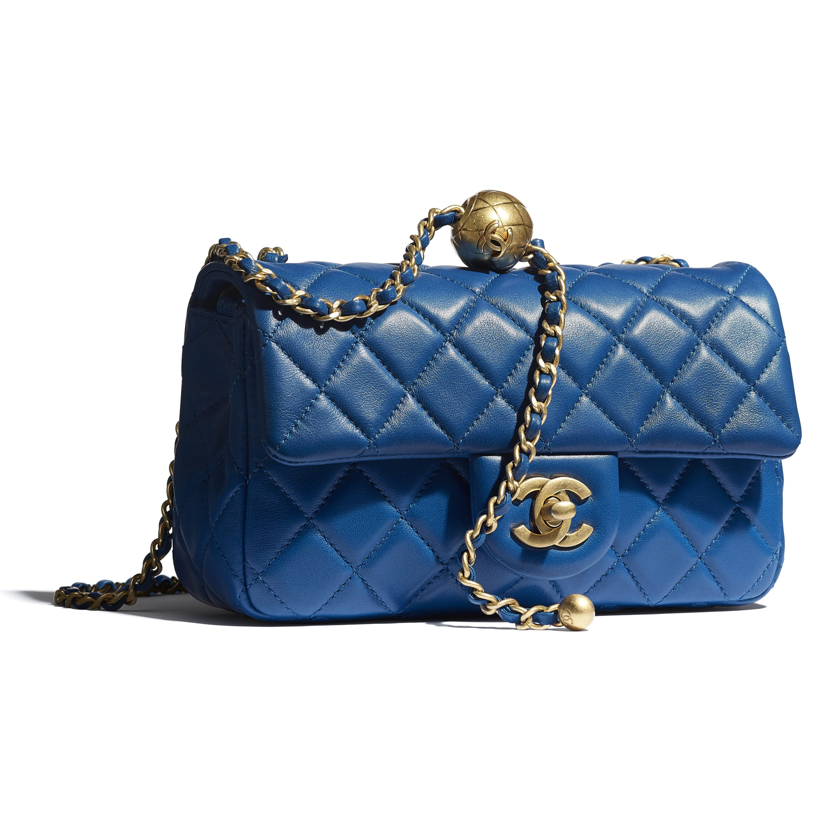 Mini Flap Bag - Blue - Lambskin - CHANEL - Extra view - see standard sized version