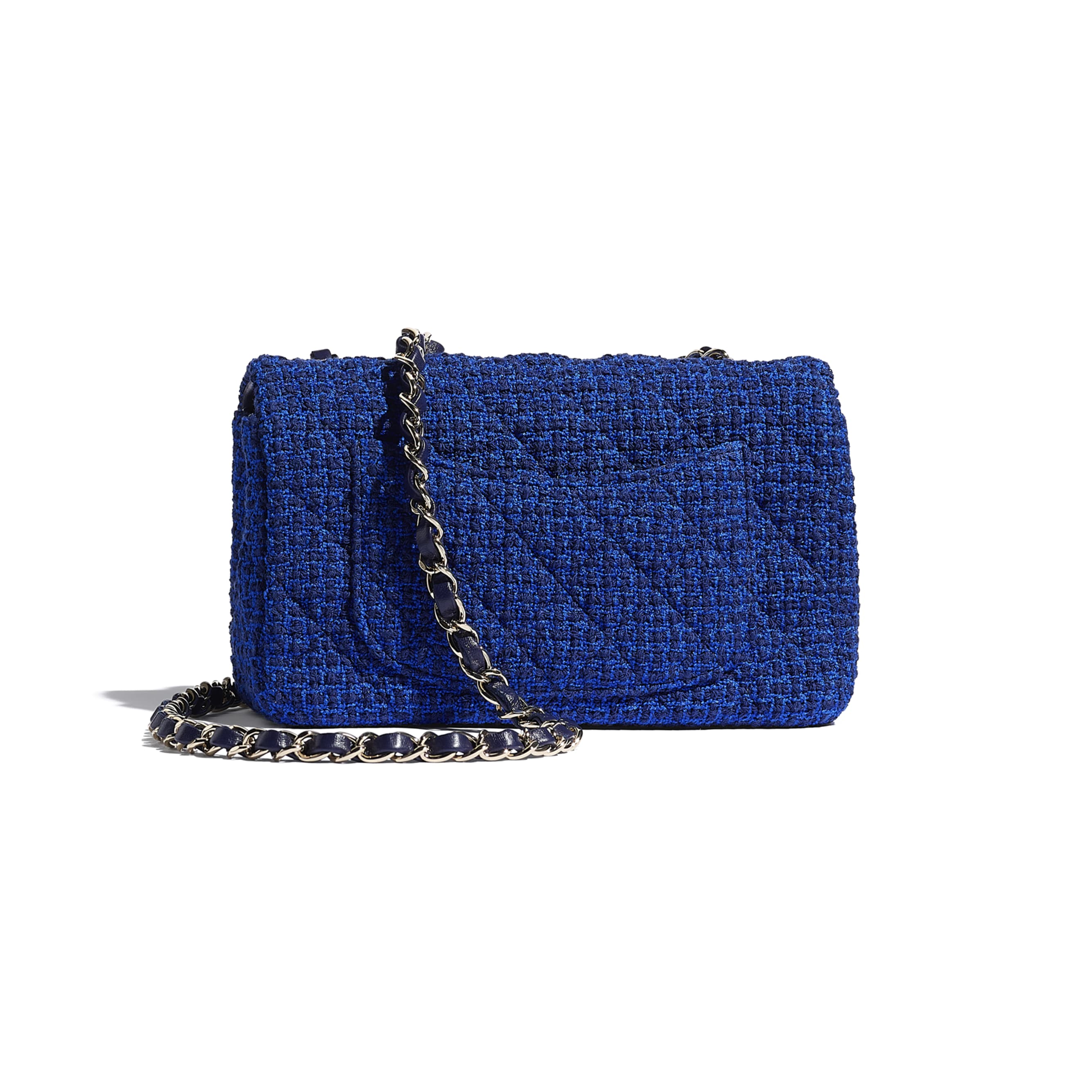 Mini Flap Bag - Blue & Navy Blue - Tweed & Gold Metal - CHANEL - Alternative view - see standard sized version